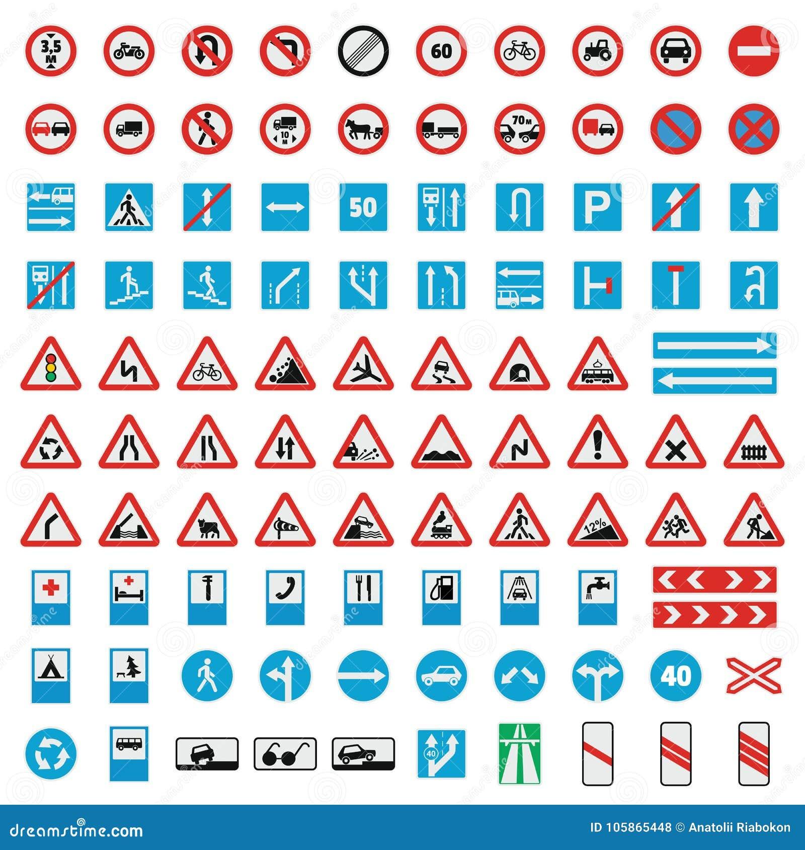 Os ícones da coleção do sinal de estrada do tráfego ajustaram-se, estilo liso