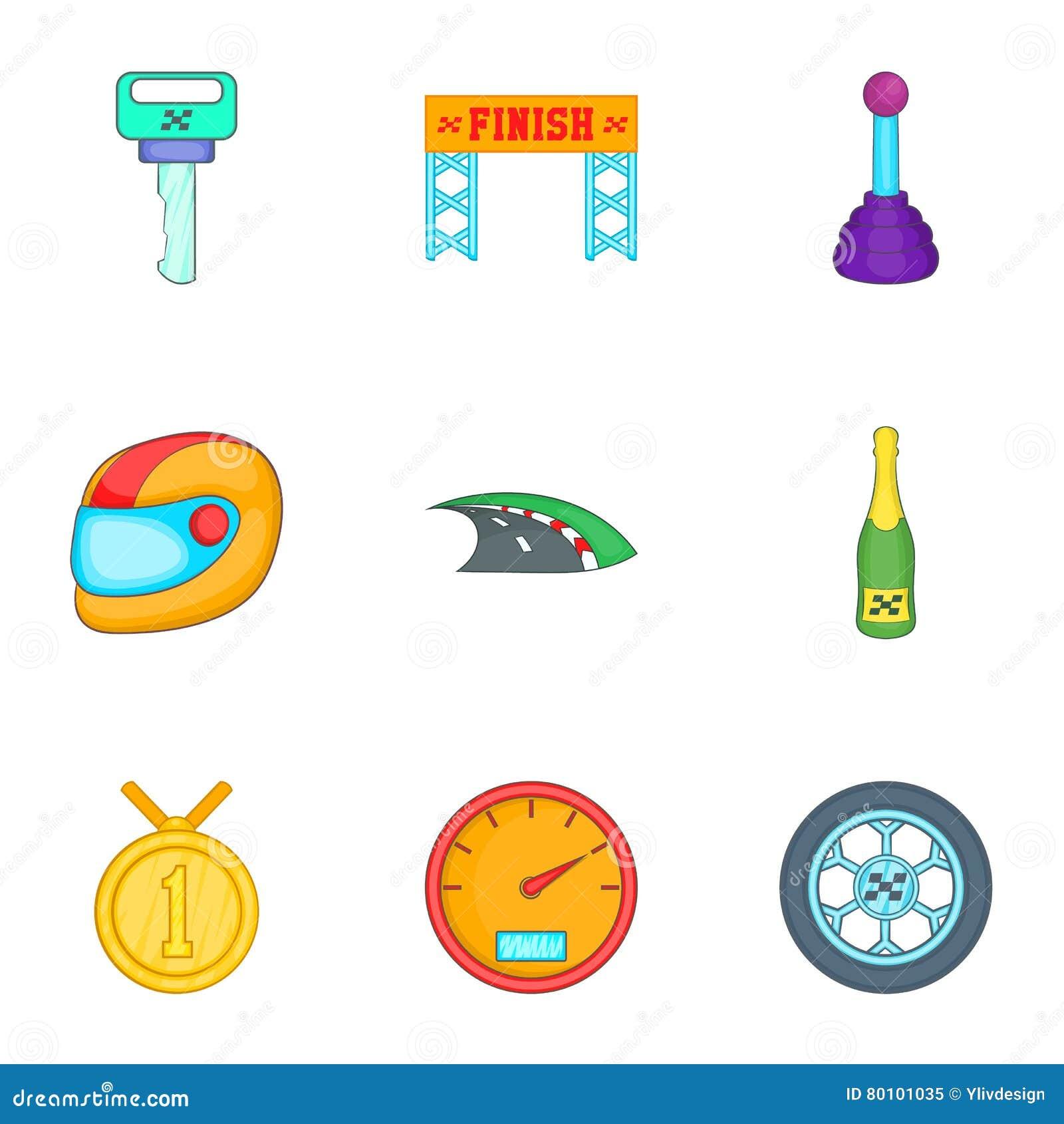 Os ícones da competência e da competição ajustaram-se, estilo dos desenhos animados