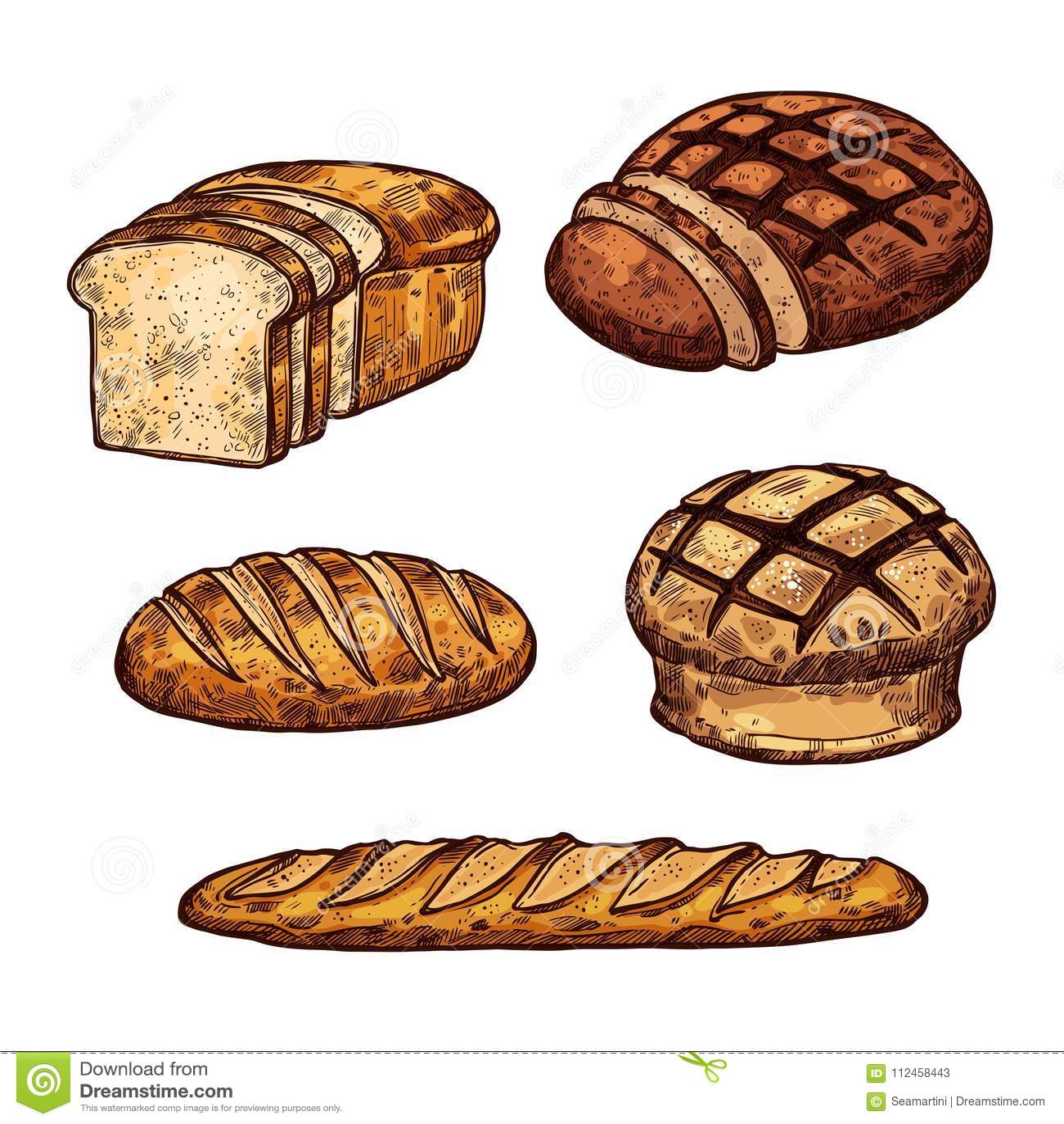 Os ícones da cor do pão do esboço do vetor da padaria compram