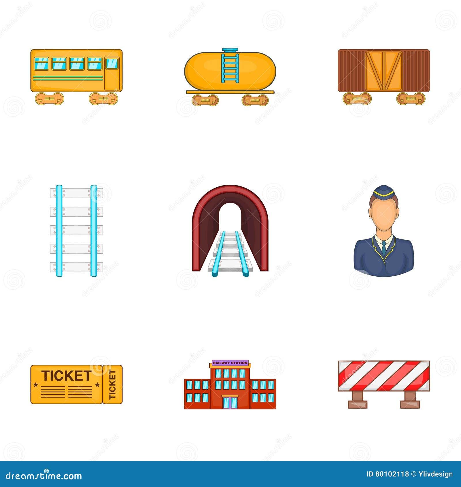 Os ícones da estrada da maneira do ferro ajustaram-se, estilo dos desenhos animados