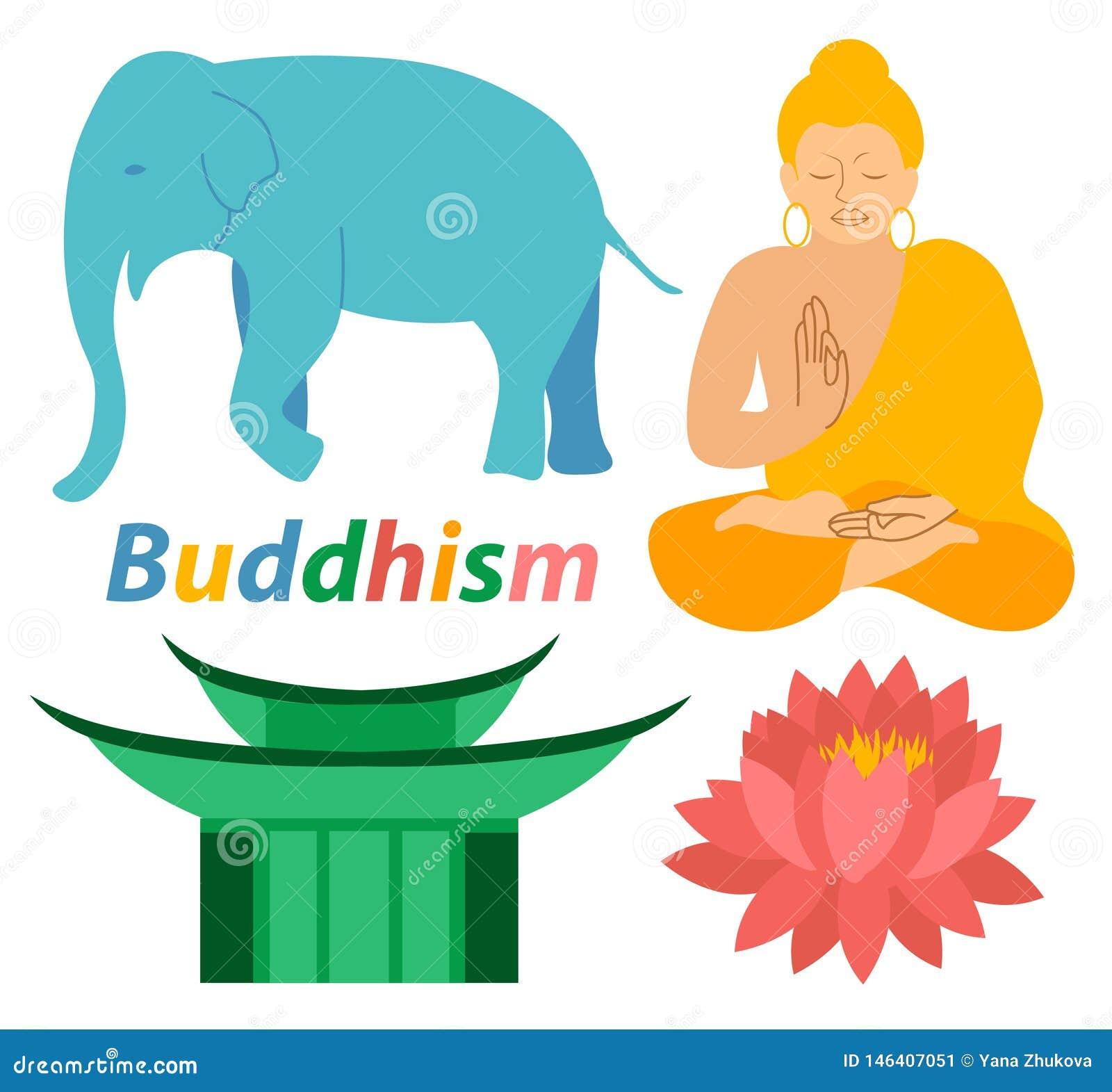 Os ícones da religião de buddha Lotus Buddhism do elefante imprimem o projeto liso colorido da ilustração moderna da meditação da