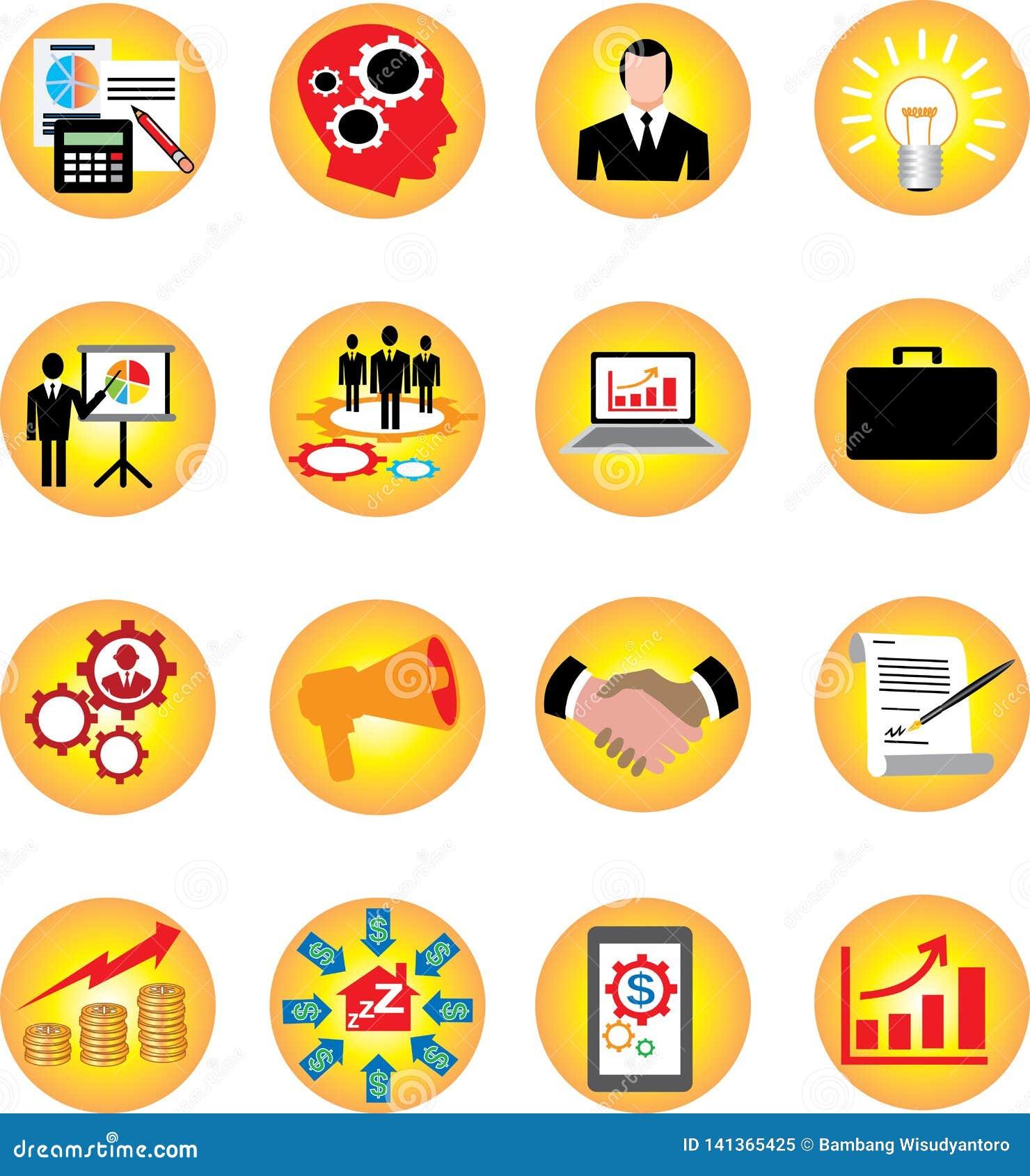 Os ícones de Infographic ajustaram o negócio e a finança - ilustração do vetor
