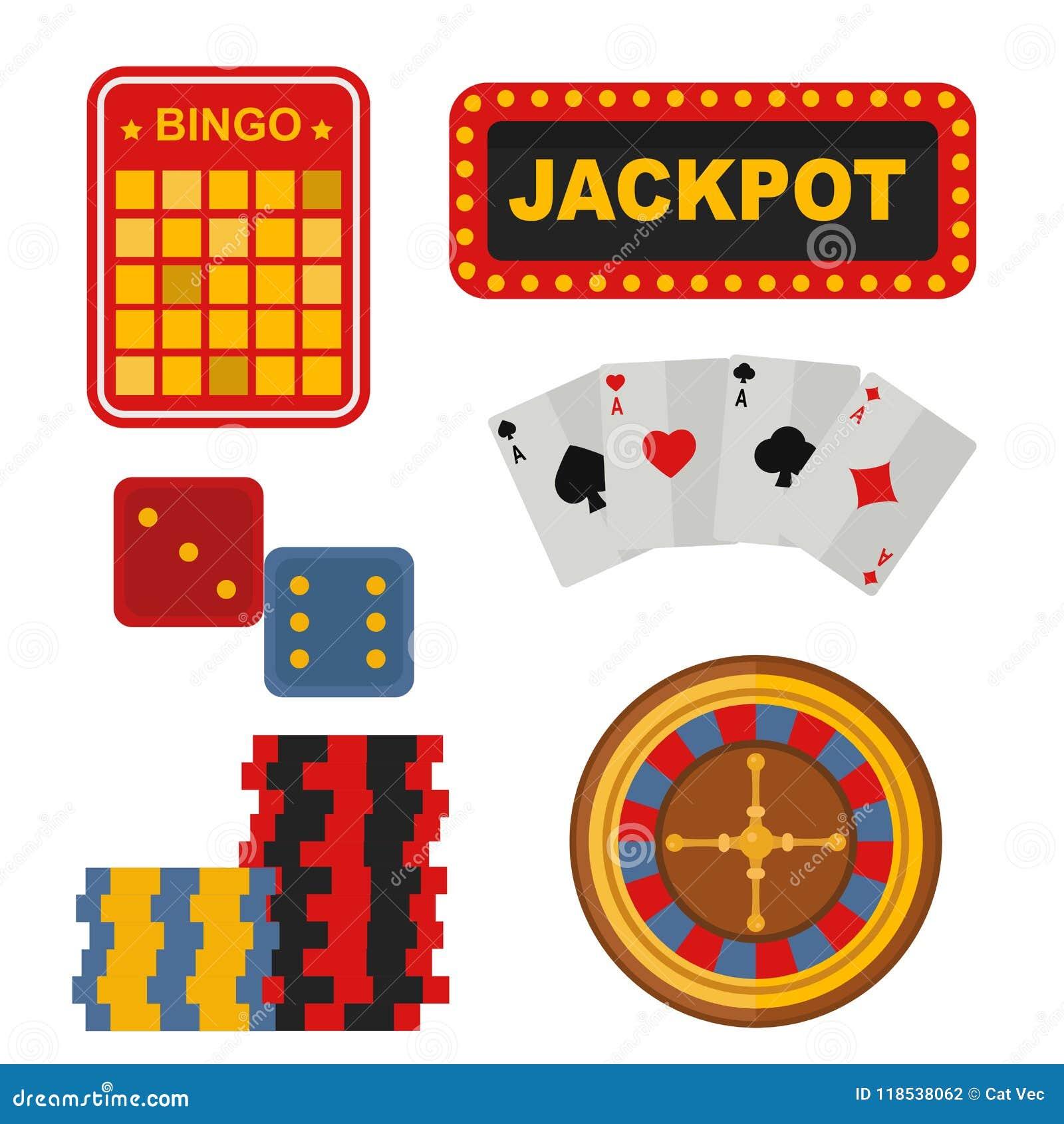 Os ícones do casino ajustaram-se com ilustração do vetor do jogo de pôquer do slot machine do palhaço do jogador da roleta