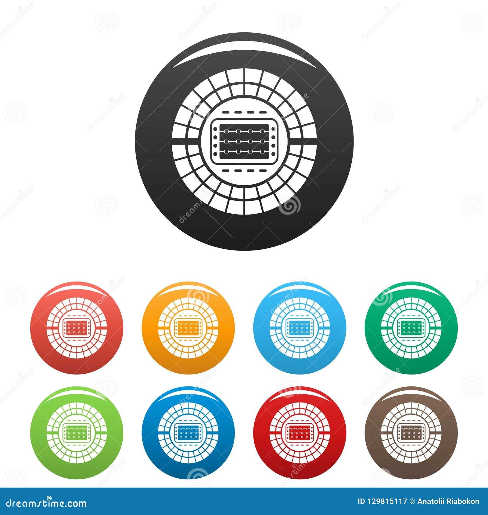 8d7ed3f3c Os ícones Do Estádio Do Esporte Ajustaram A Cor Ilustração do Vetor ...