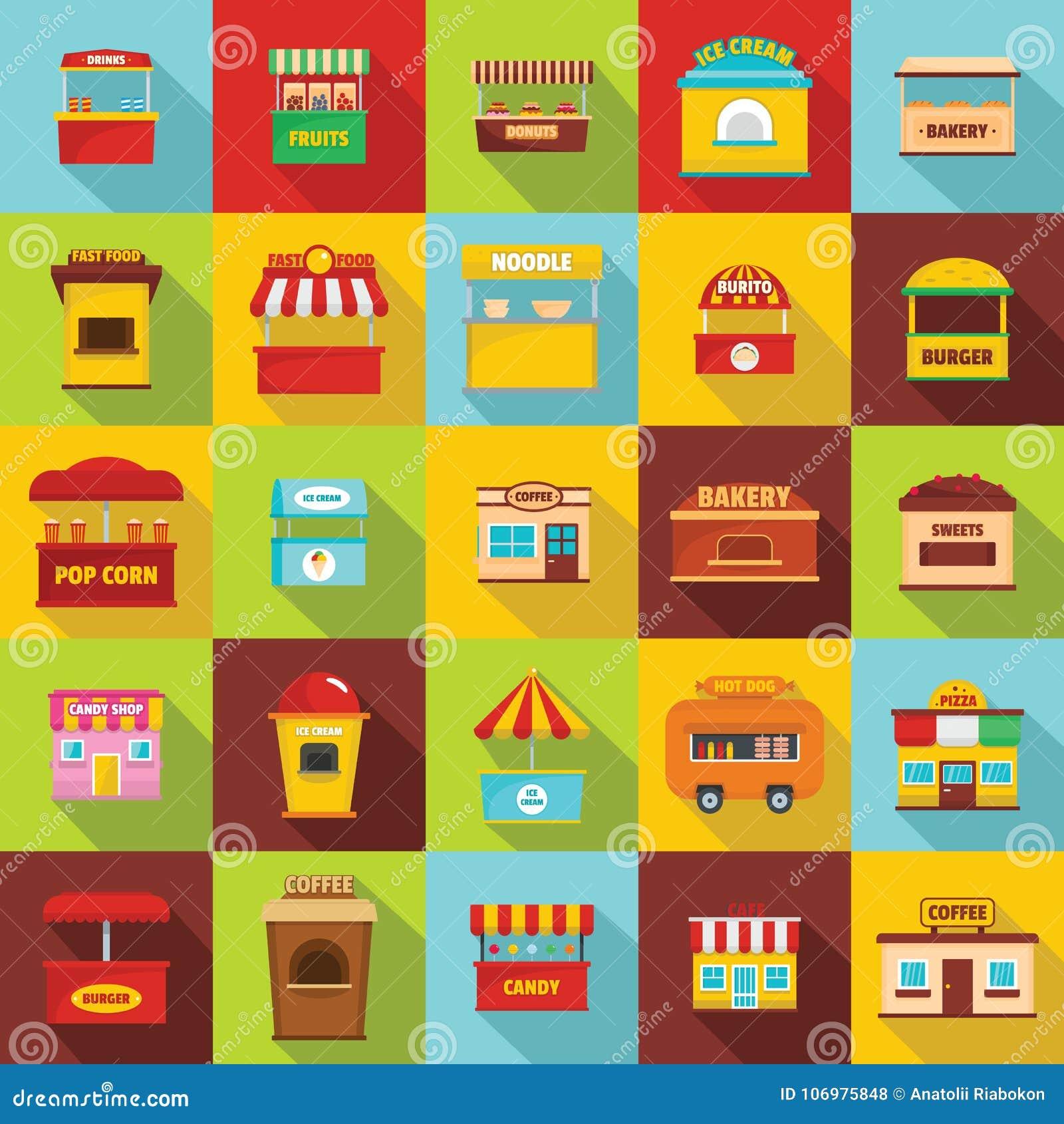Os ícones do quiosque do alimento da rua ajustaram-se, estilo liso