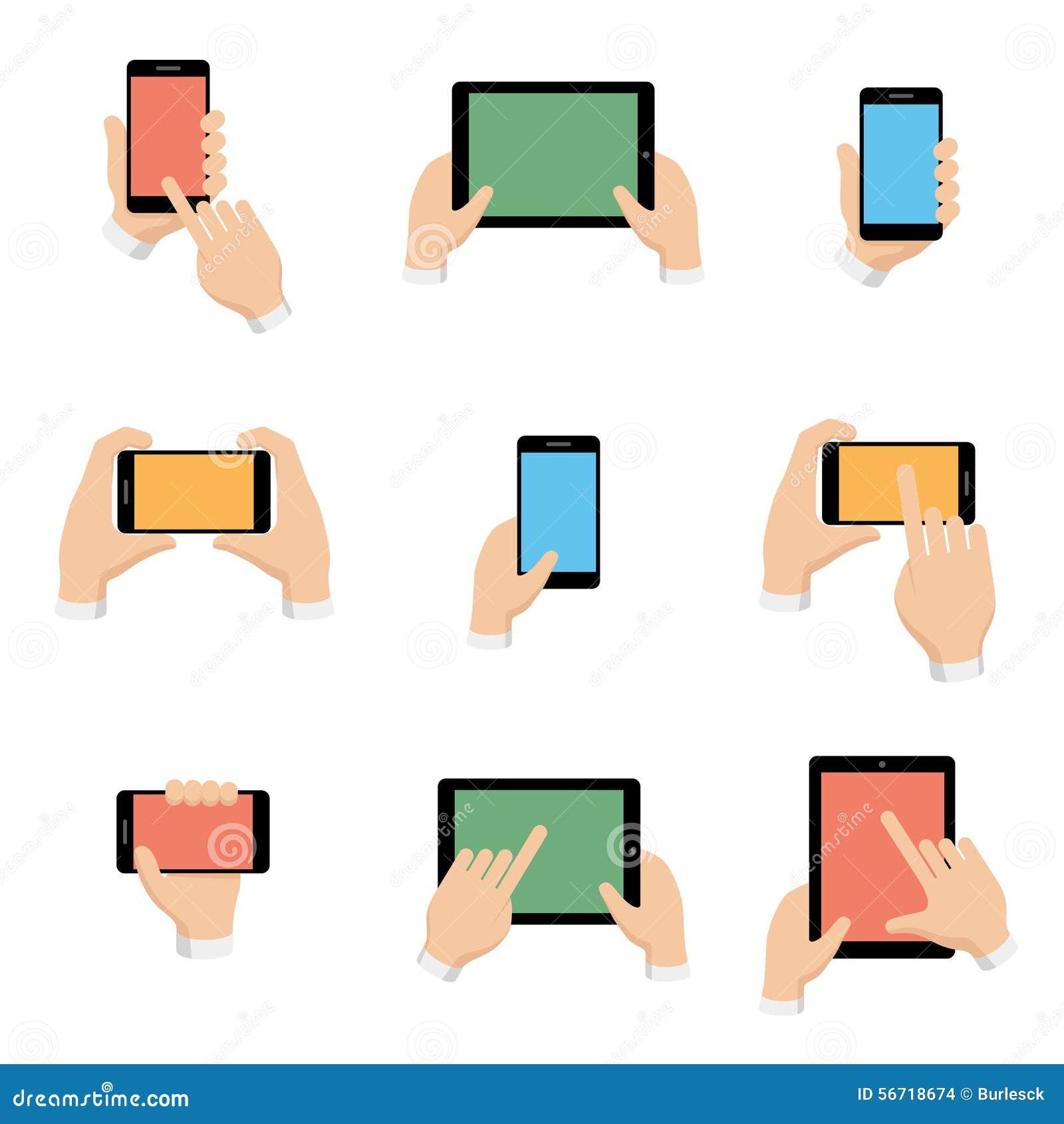 Os ícones do vetor ajustaram-se do smartphone e da tabuleta nas mãos