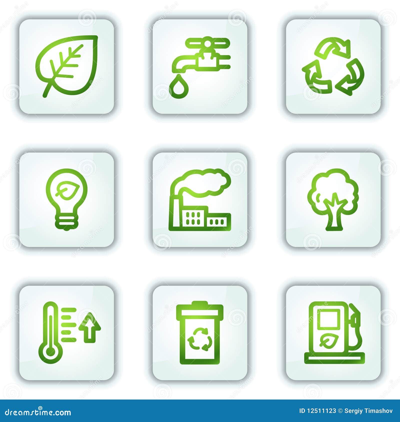 Os ícones do Web da ecologia, o quadrado branco abotoam a série