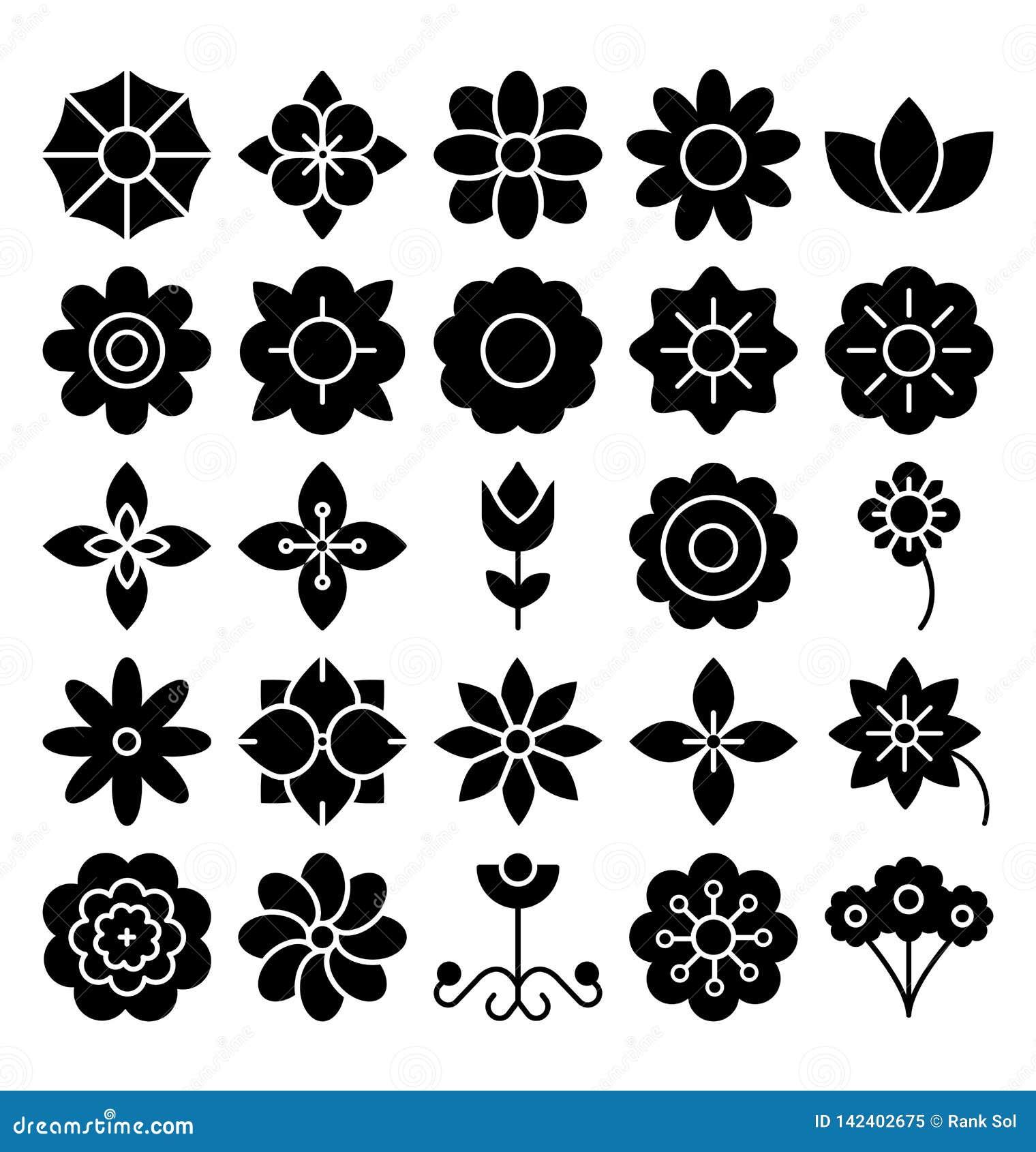 Os ícones florais e da flor do vetor ajustaram-se que podem facilmente ser alterados ou editado