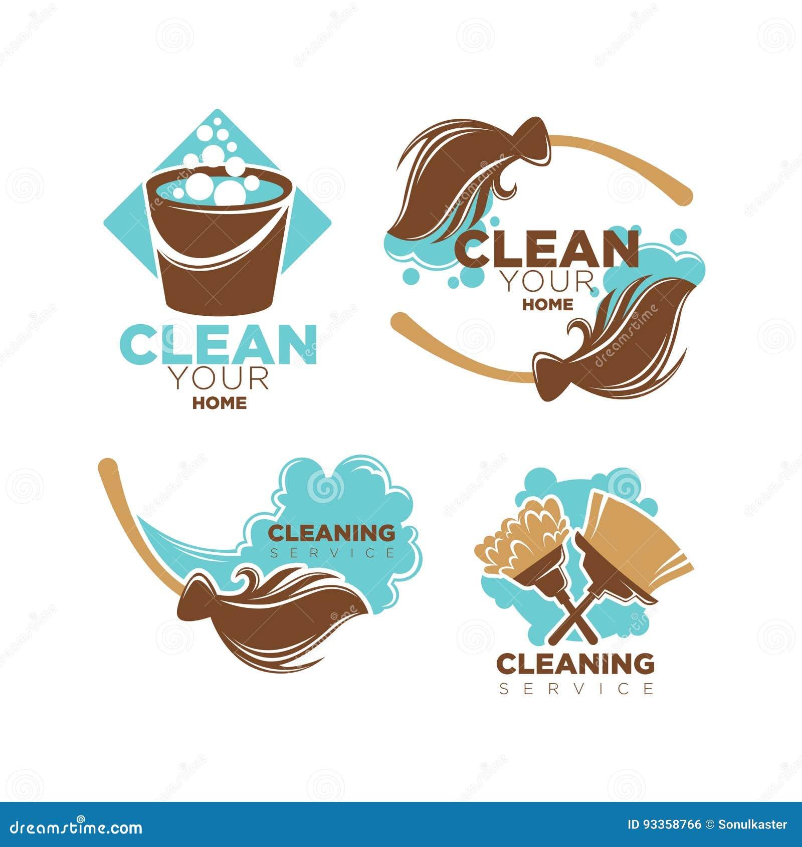 Os ícones home do vetor do serviço da limpeza ajustaram-se das vassouras e das escovas do espanador