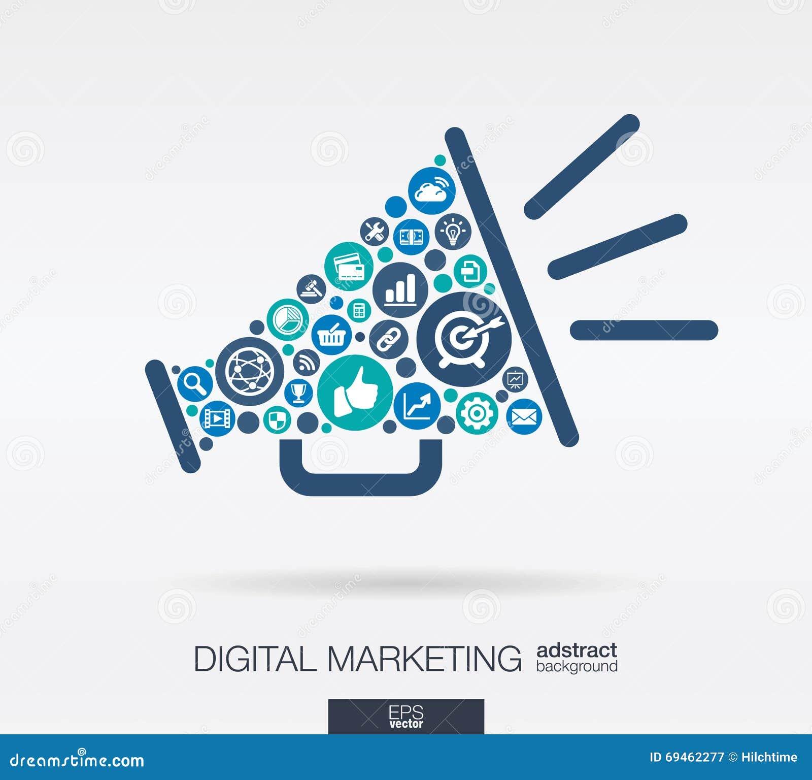 Os ícones lisos em um orador dão forma, mercado digital, meio social, rede, conceito do computador