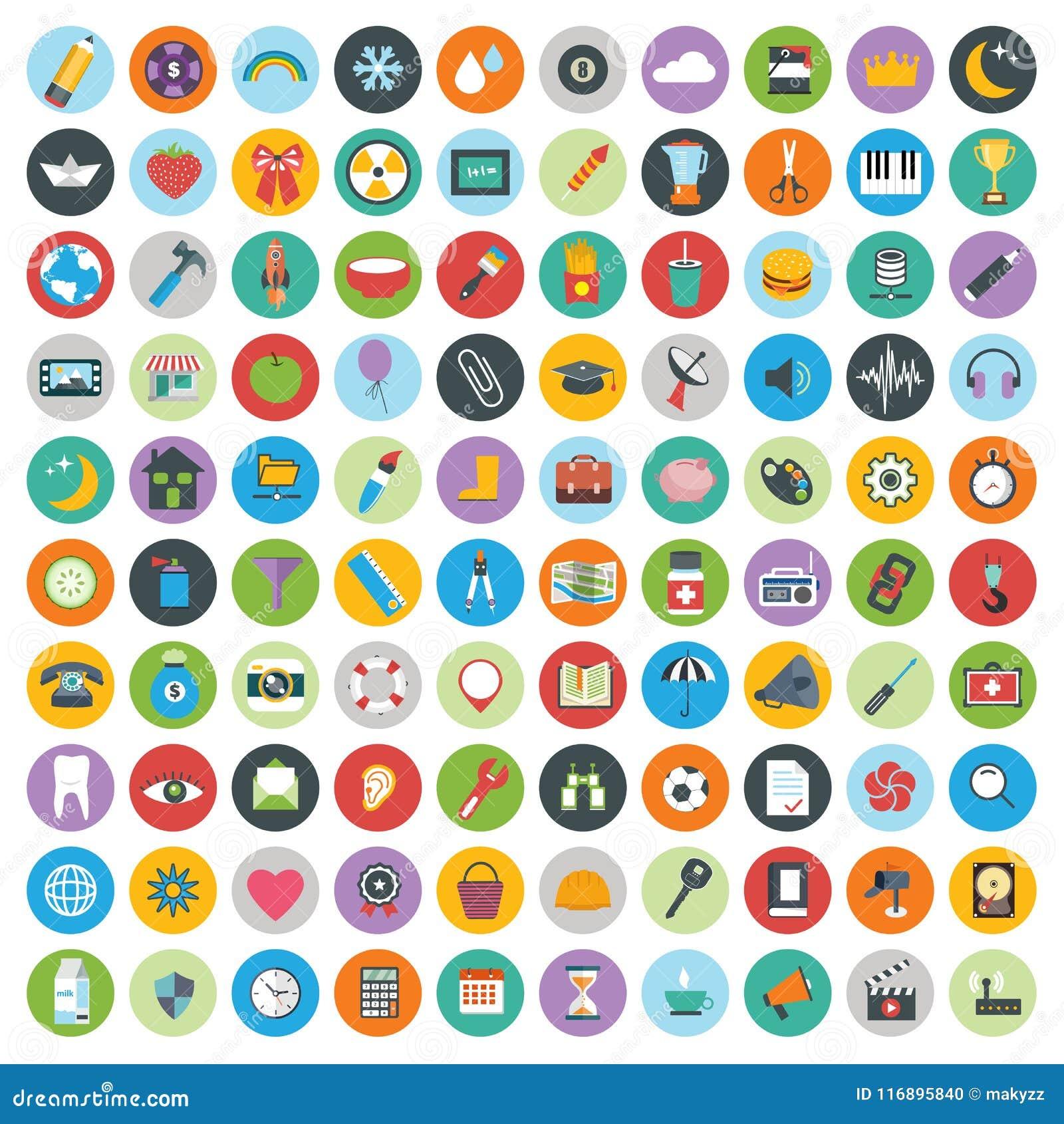 Os ícones lisos projetam a ilustração moderna do vetor Grupo grande de ícones do desenvolvimento da Web e de tecnologia, símbolos