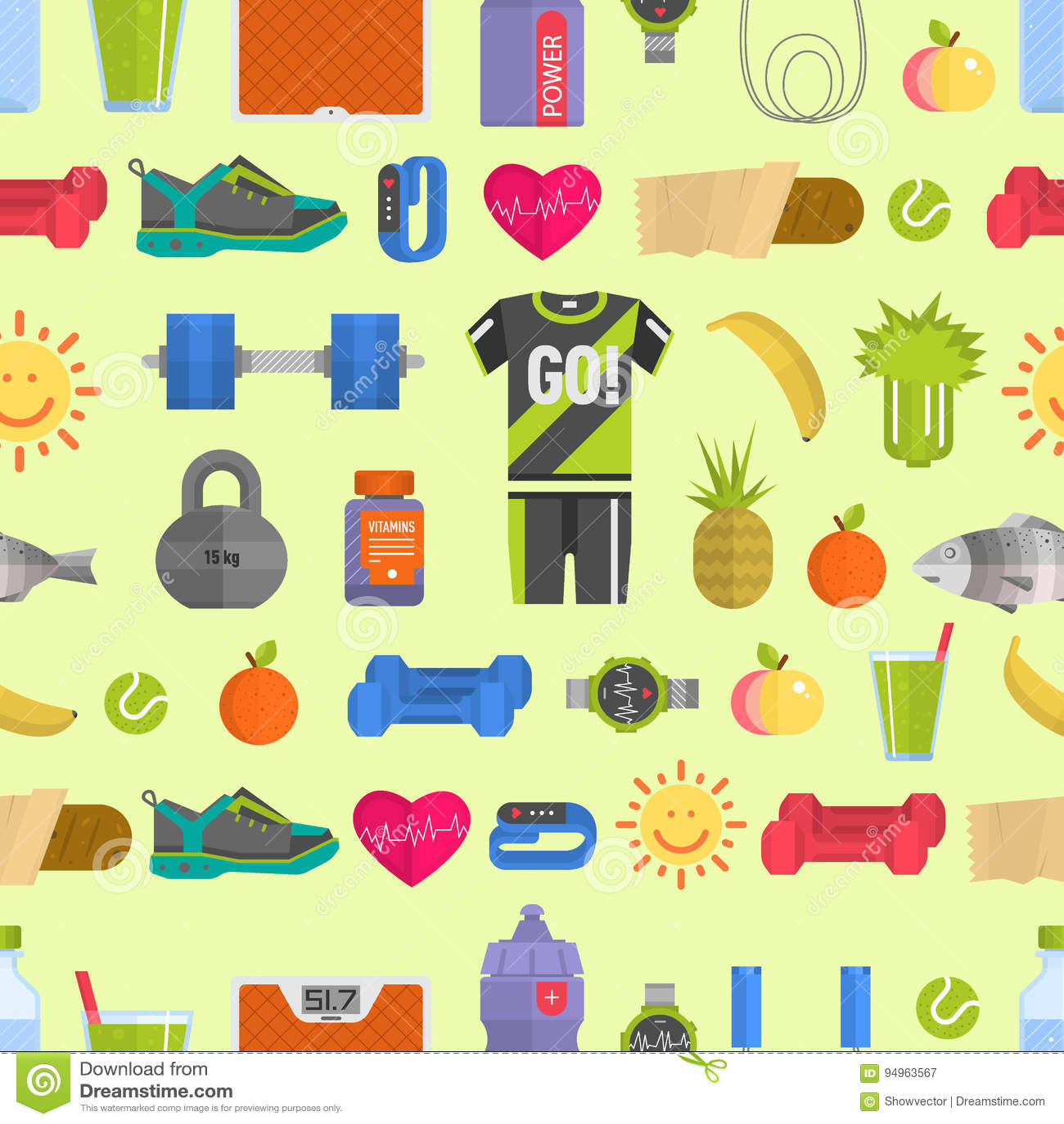 Os ícones saudáveis da dieta do estilo de vida e o fundo sem emenda do teste padrão dos fitnes do estilo de vida das sapatilhas d