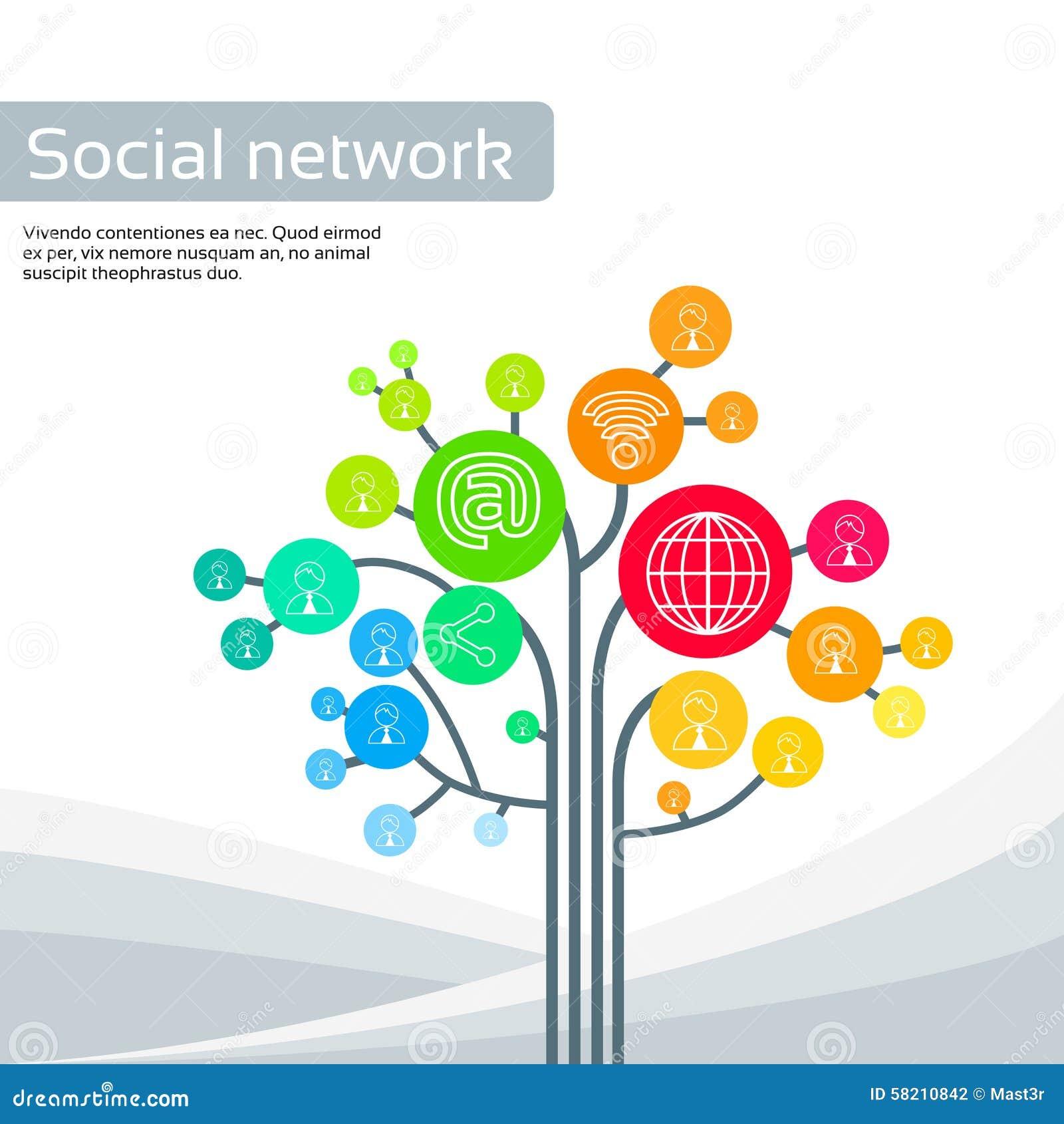 Os ícones sociais dos meios da árvore da tecnologia diluem a linha logotipo