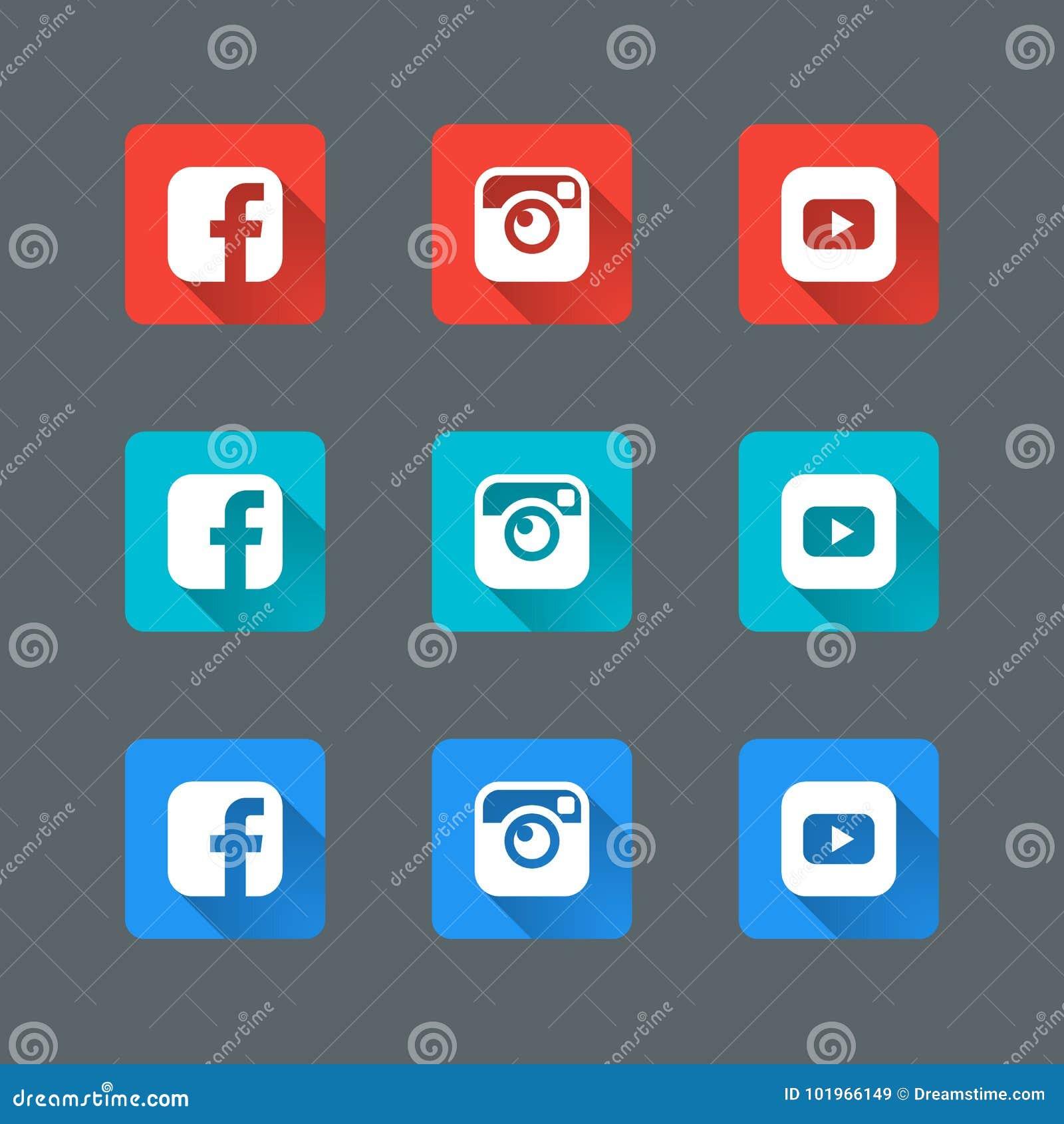 Os ícones sociais na moda ajustaram-se no projeto liso com sombras longas para a Web