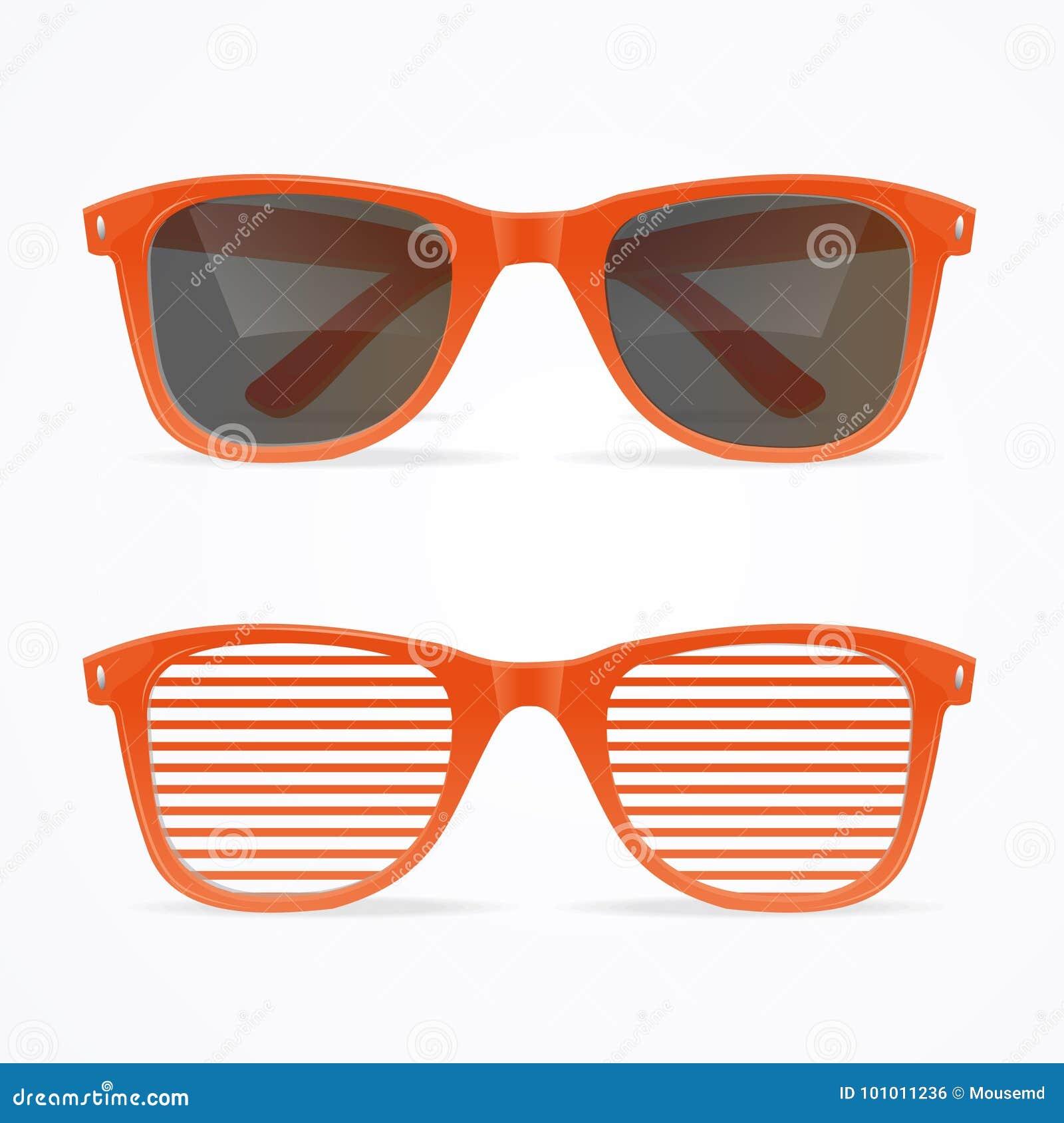 Os óculos de sol 3d realísticos listraram o conceito retro vermelho e preto Vetor
