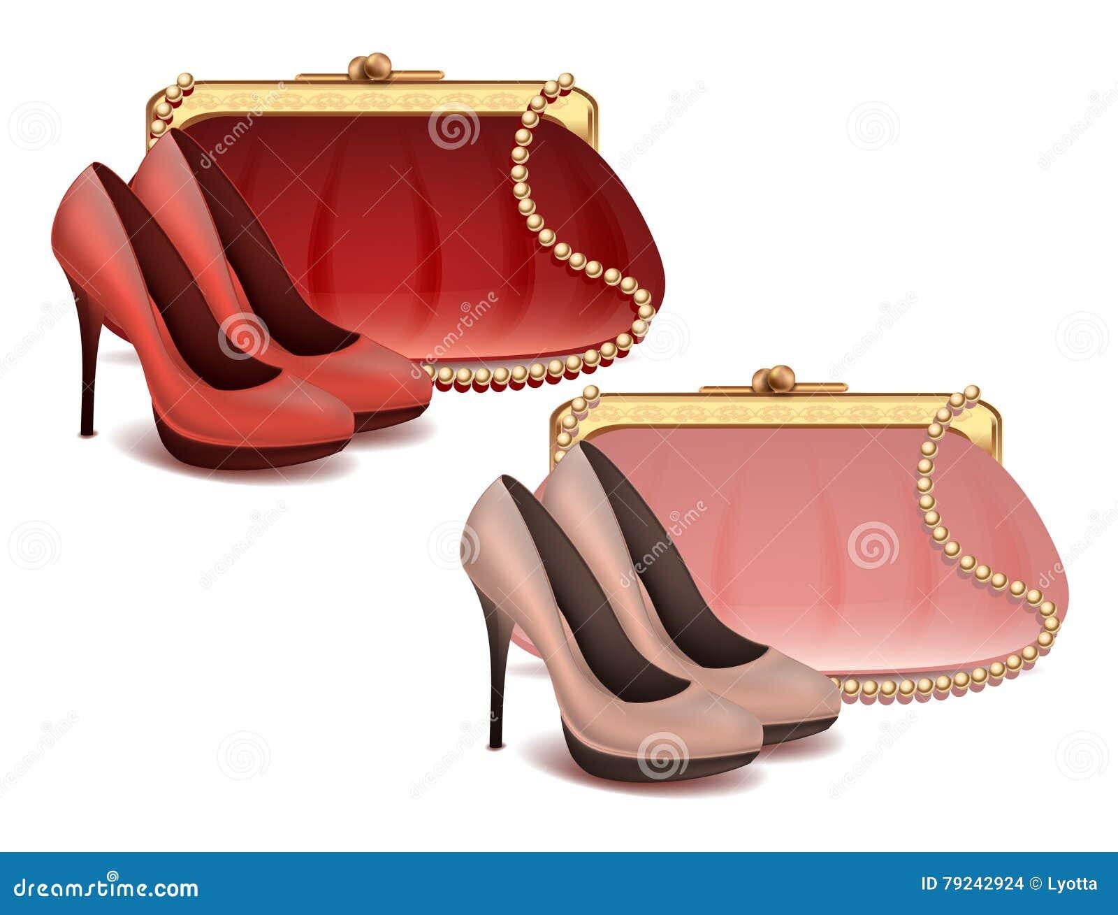 Os acessórios de forma fêmeas do vetor ajustaram a bolsa e as sapatas em cores cor-de-rosa e vermelhas