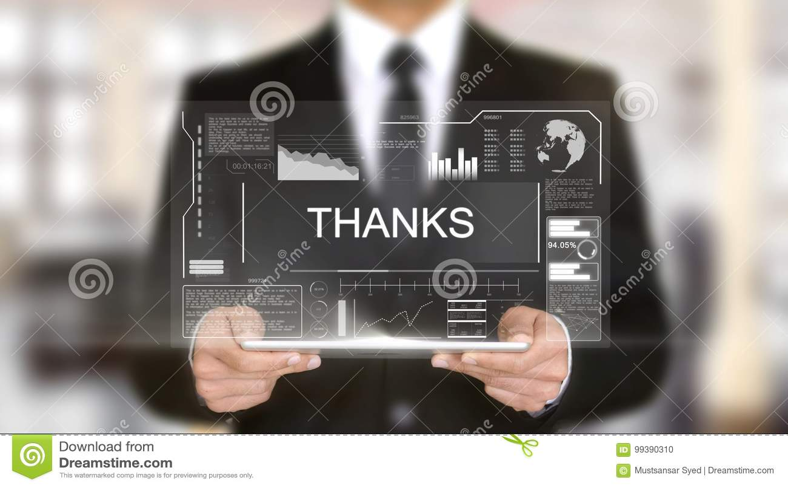 Os agradecimentos, relação futurista do holograma, aumentaram a realidade virtual