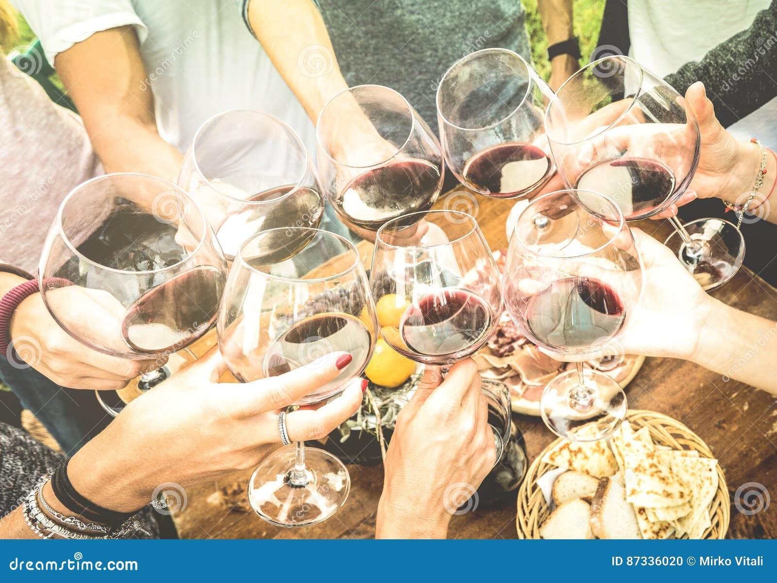 Os amigos entregam o brinde do vidro de vinho tinto e ter o divertimento fora