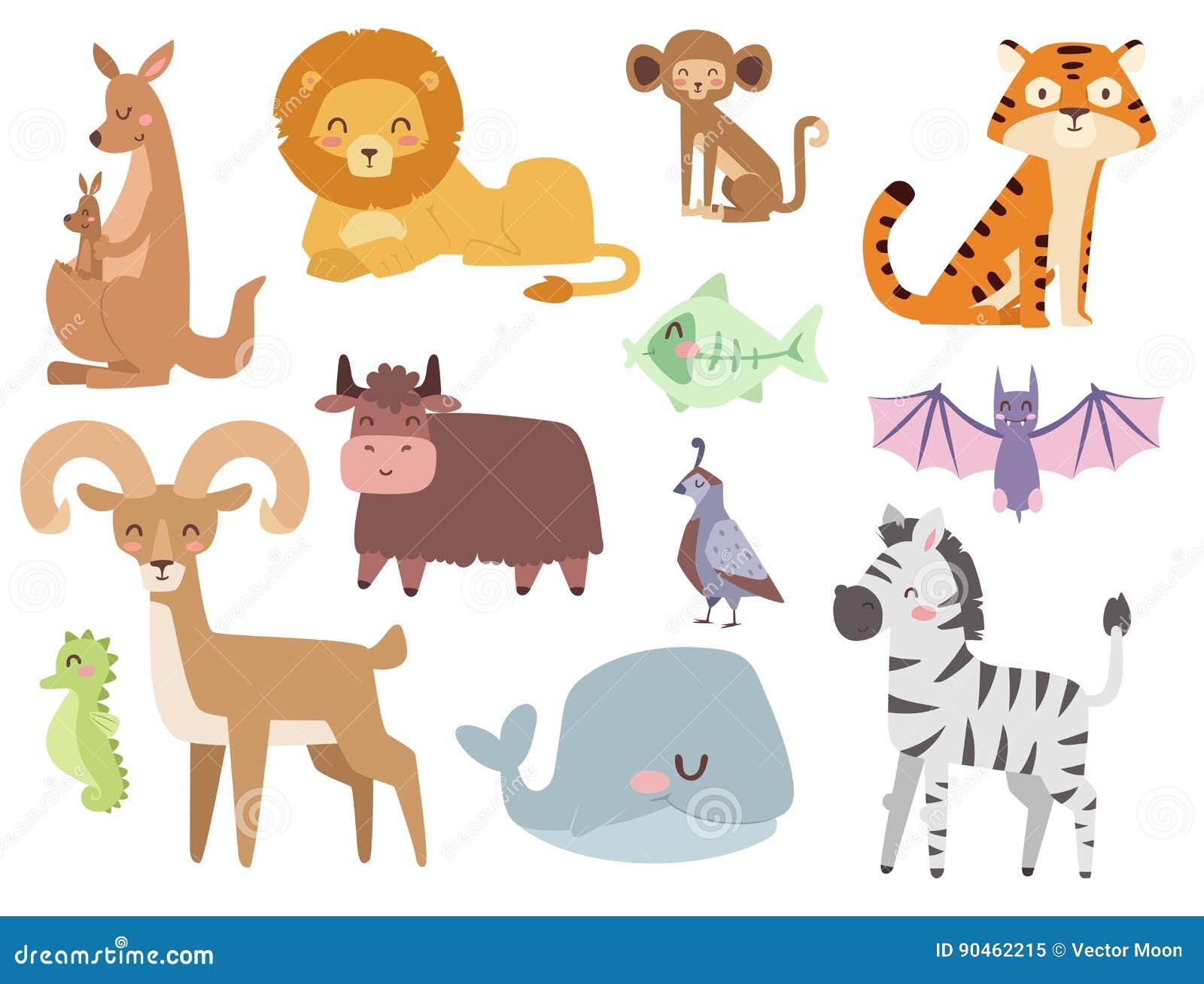 Zoológico De Animais Bebê Dos Desenhos Animados Vetor: Os Animais Bonitos Dos Desenhos Animados Do Jardim