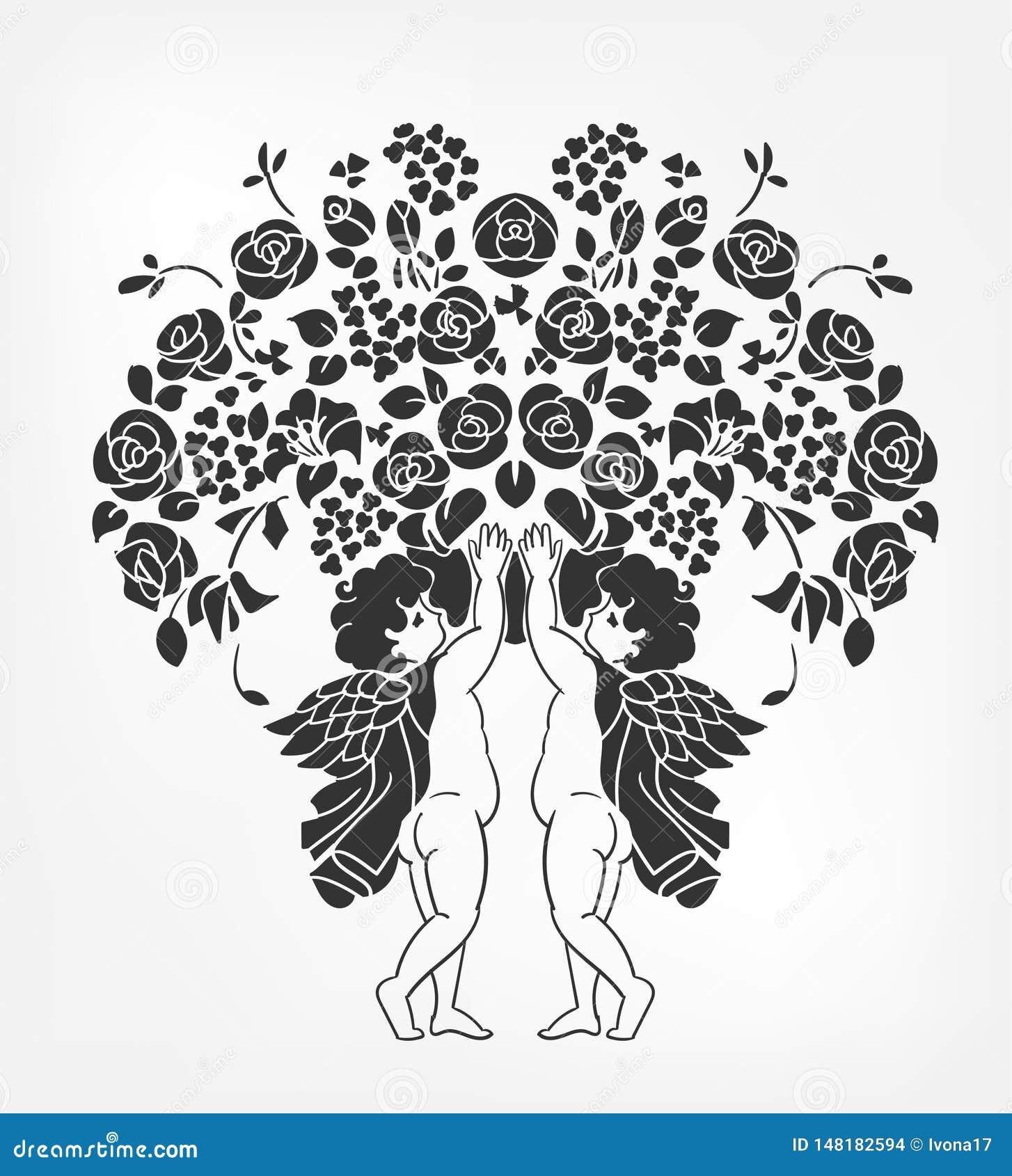 Os anjos mantêm o estêncil da ilustração do vetor das flores isolado