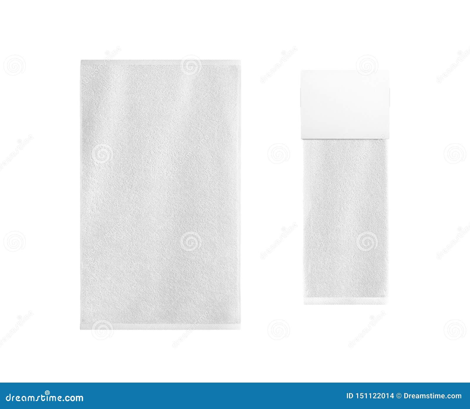 Os artigos brancos de matéria têxtil do banho ajustaram-se isolado Gancho varejo vazio com a toalha de terry dobrada