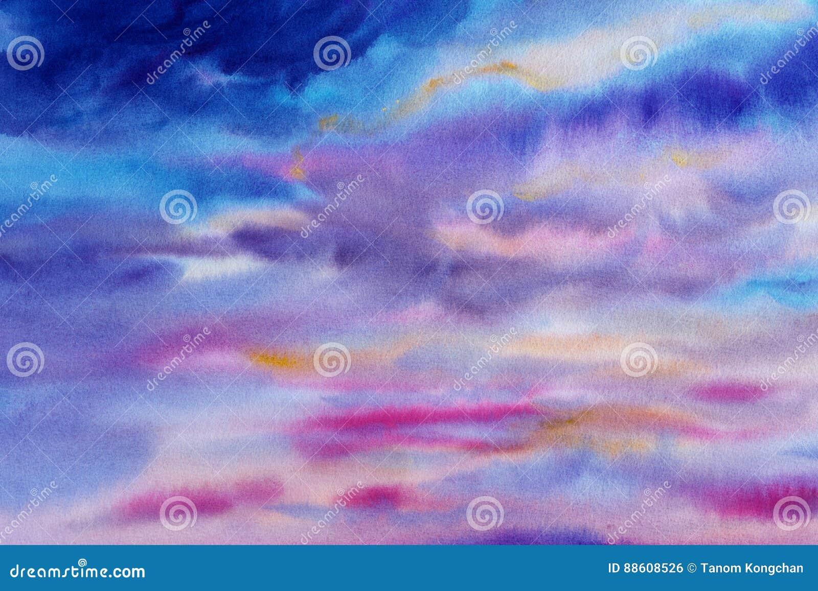 Os azul-céu das pinturas das aquarelas picam a cor da nuvem no ar