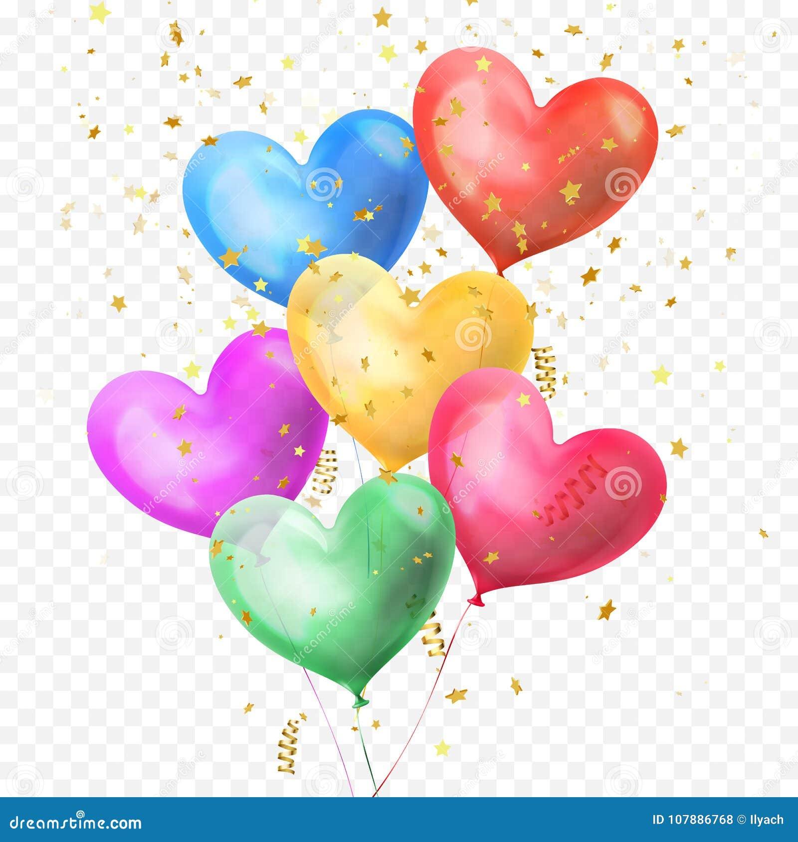 Os balões do coração ajuntam-se e os confetes dourados das estrelas do brilho isolados no fundo transparente para a festa de anos