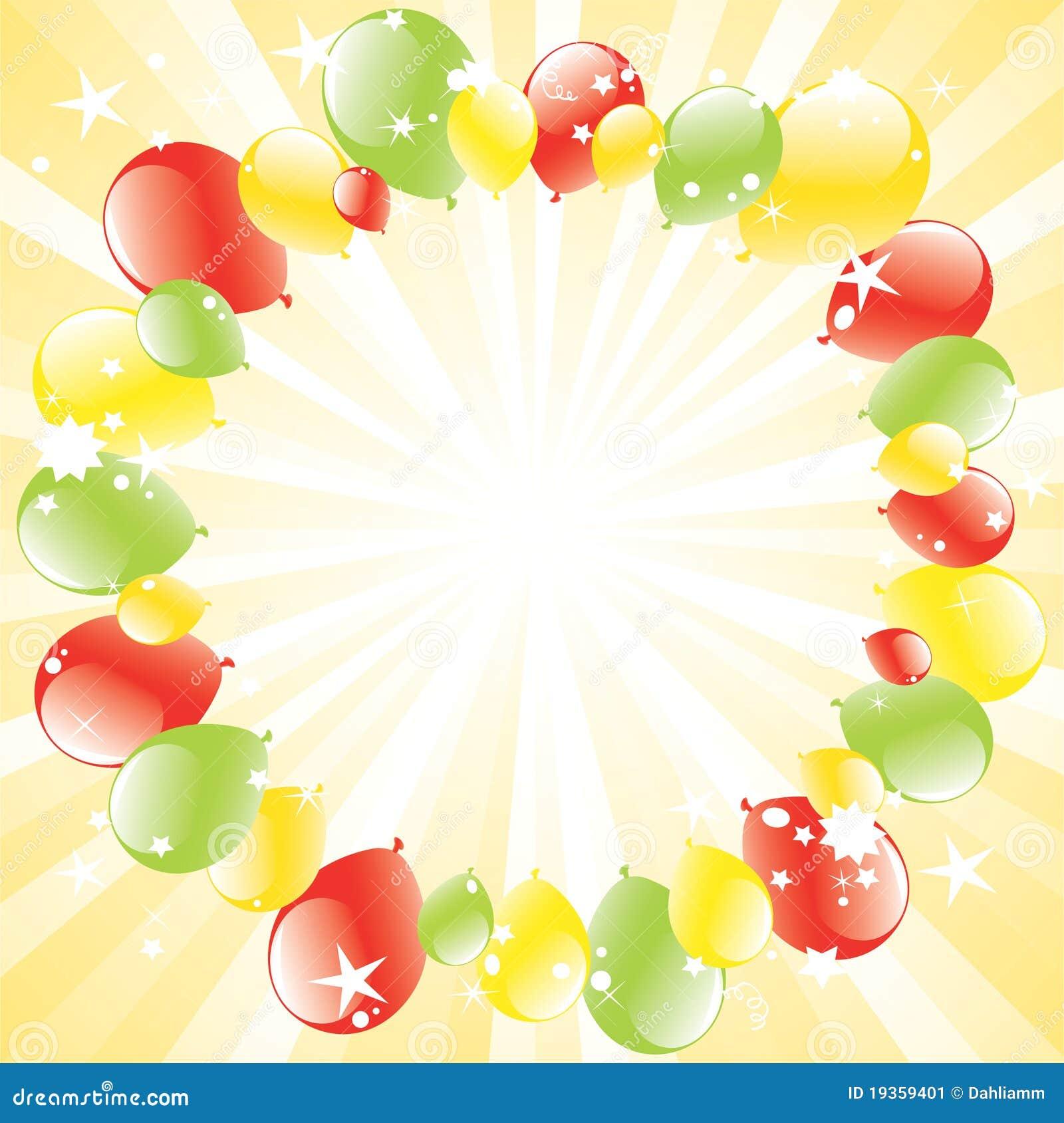 Os balões festivos e luz-estouraram