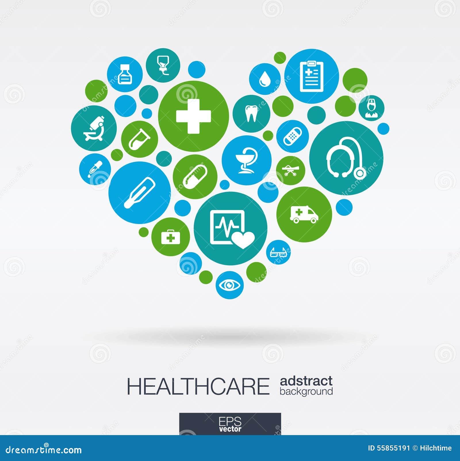 Os círculos de cor com ícones lisos em um coração dão forma: medicina, médica, saúde, cruz, conceitos dos cuidados médicos abstra