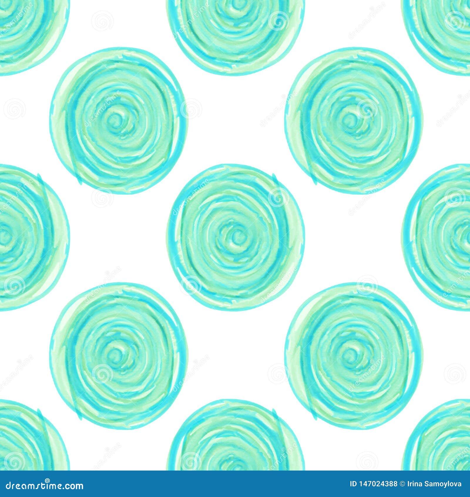 Os círculos digitais espiralam teste padrão sem emenda azul no fundo branco