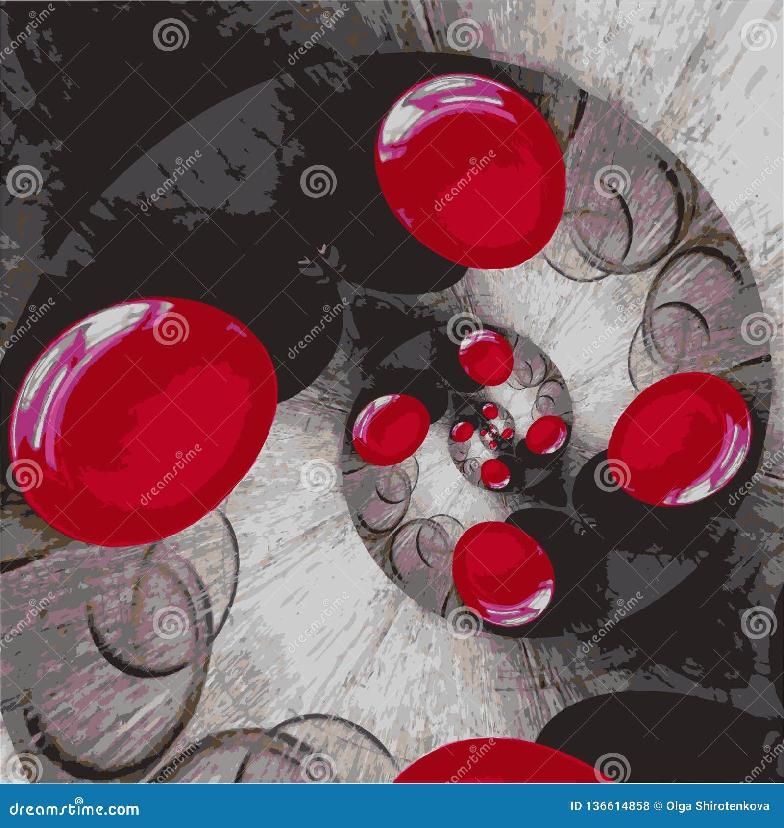 Os círculos vermelhos são torcidos em uma espiral em um fundo manchado cinzento