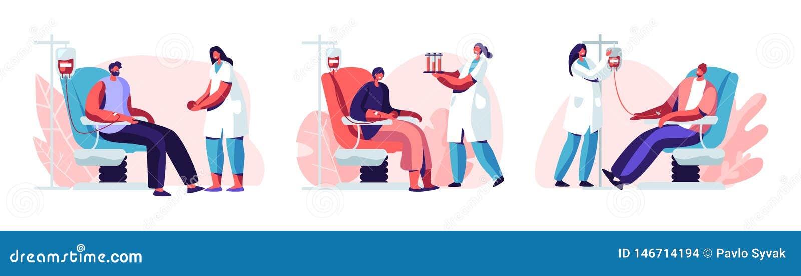 Os caráteres masculinos dos voluntários que sentam-se no hospital médico presidem a doação do sangue Doutor Woman Nurse Take ele