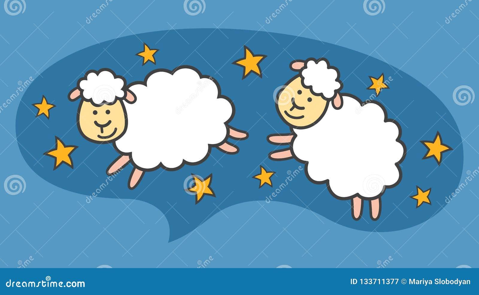 Os carneiros ou os cordeiros pequenos brancos dos desenhos animados estão voando no céu noturno azul