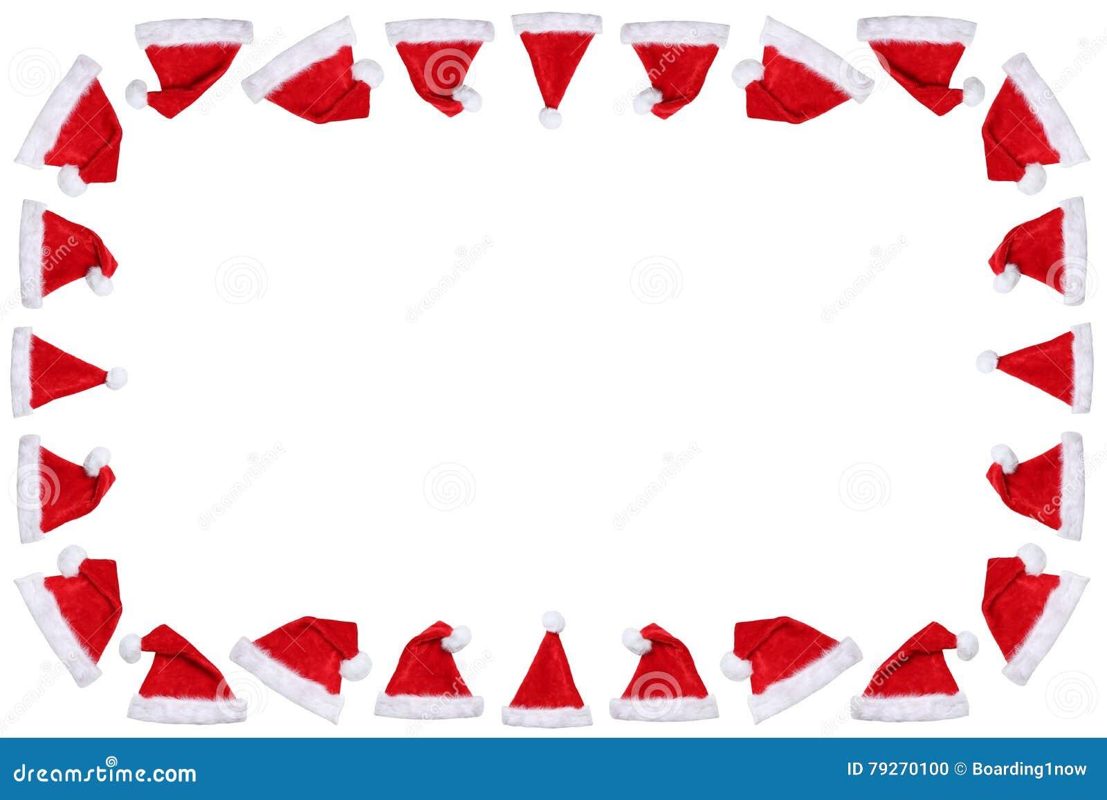 Os chapéus do chapéu de Santa Claus no espaço da cópia do copyspace do quadro do Natal ganham