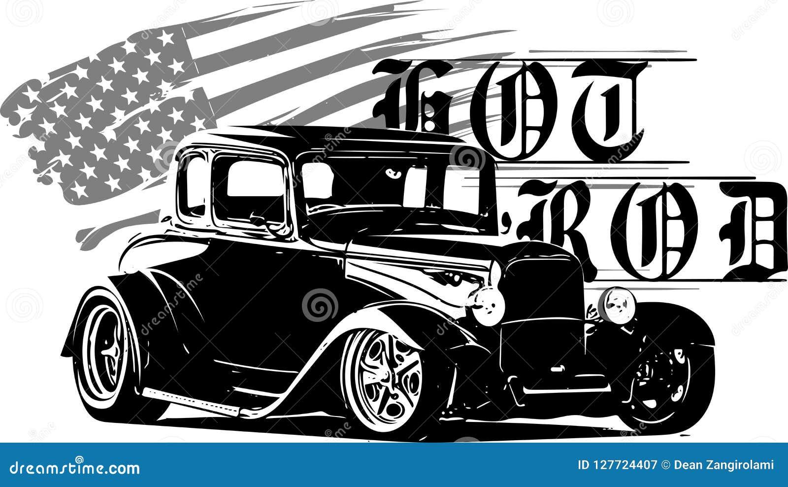 Os clássicos do hot rod, originais do hotrod, ruidosamente e jejuam competindo o equipamento, hot rod carro, carro da velha escol