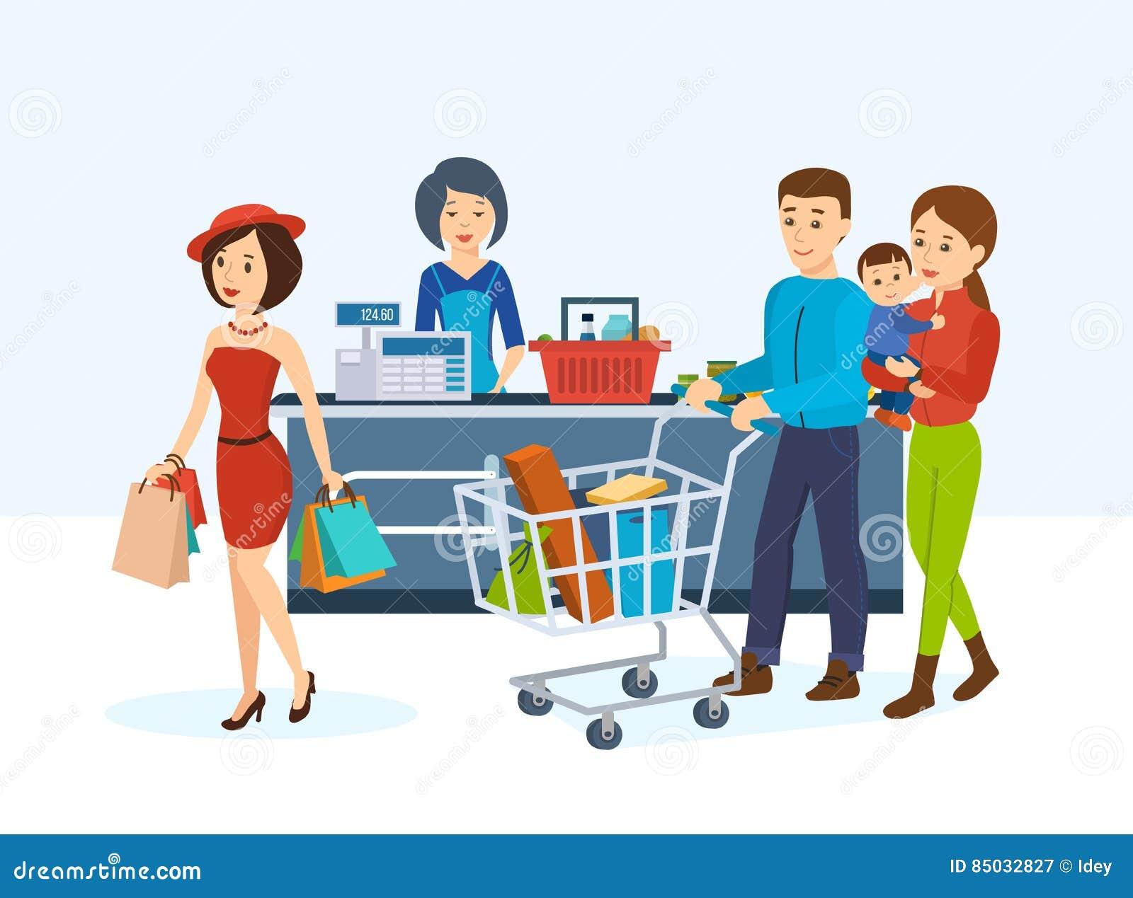 Os compradores, circundam a loja a fim comprar bens