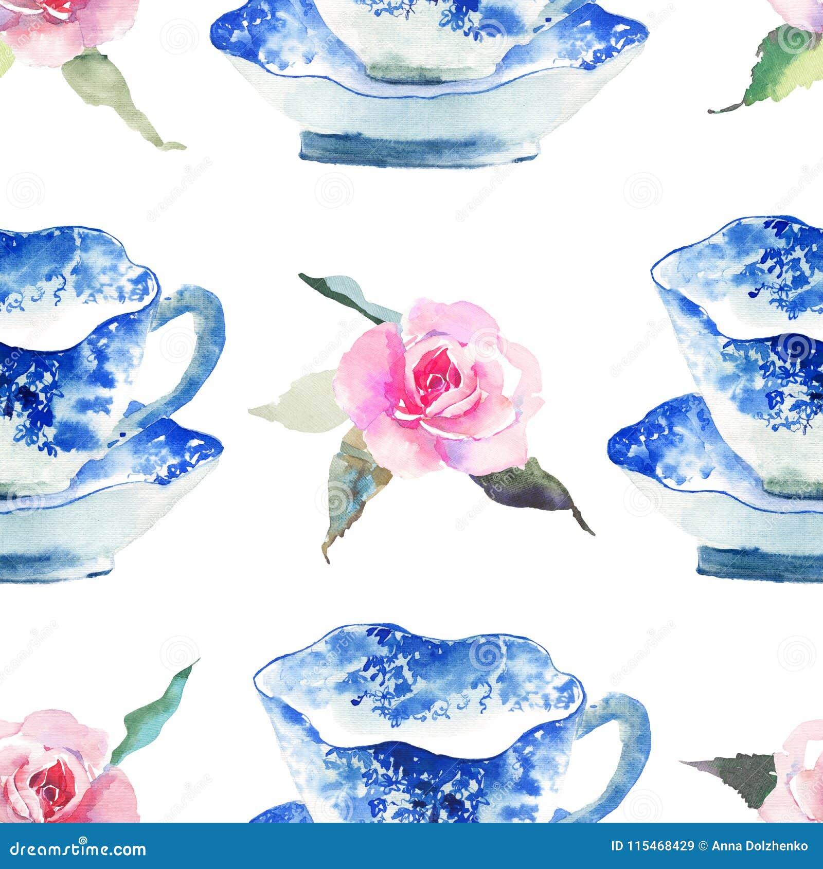 Os copos de chá azuis maravilhosos macios artísticos bonitos gráficos bonitos bonitos da porcelana da porcelana com teste padrão