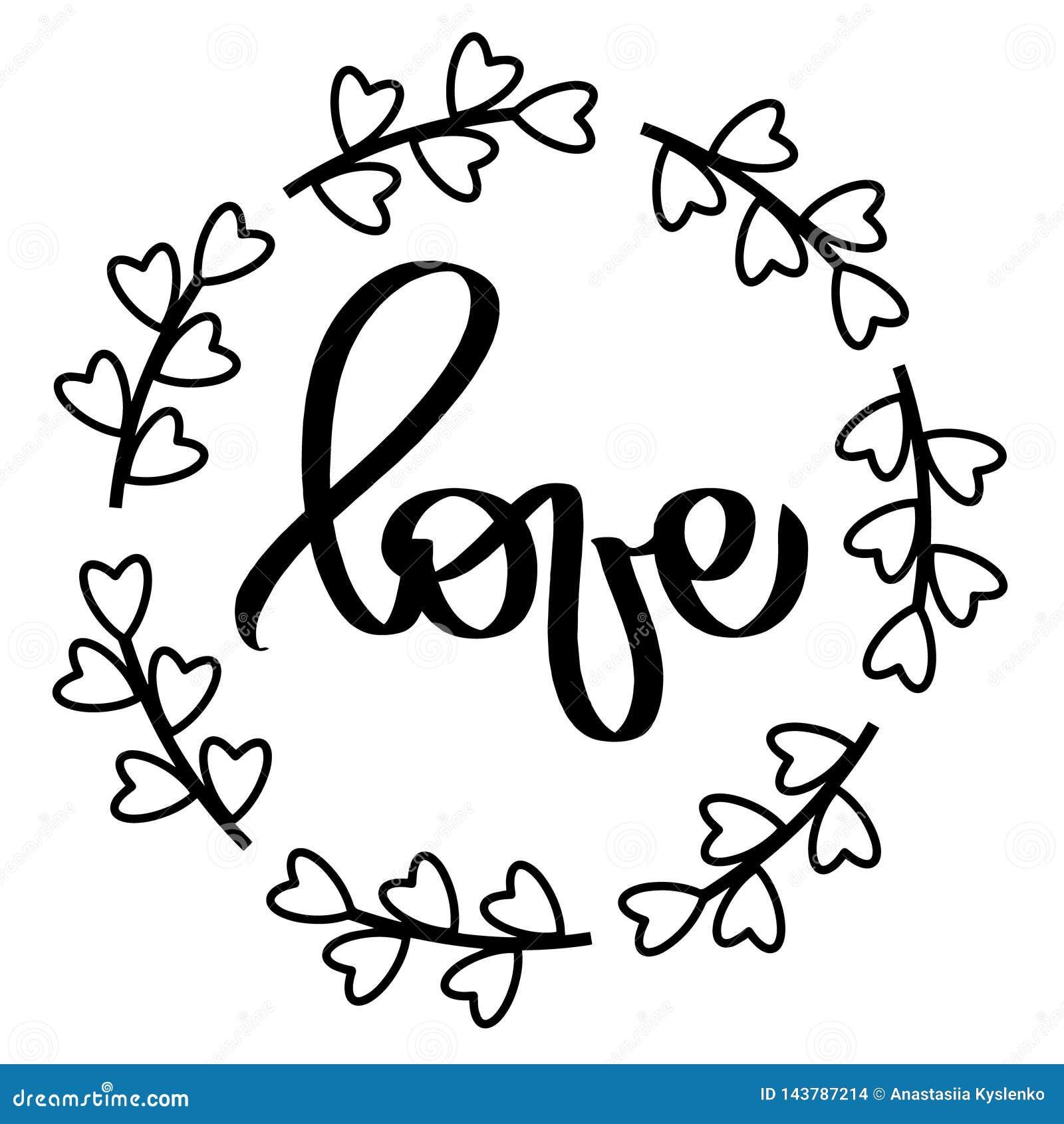 Os corações pretos moldam o amor Ilustra??o do vetor Grinalda redonda isolada do quadro Elemento decorativo do projeto para o con