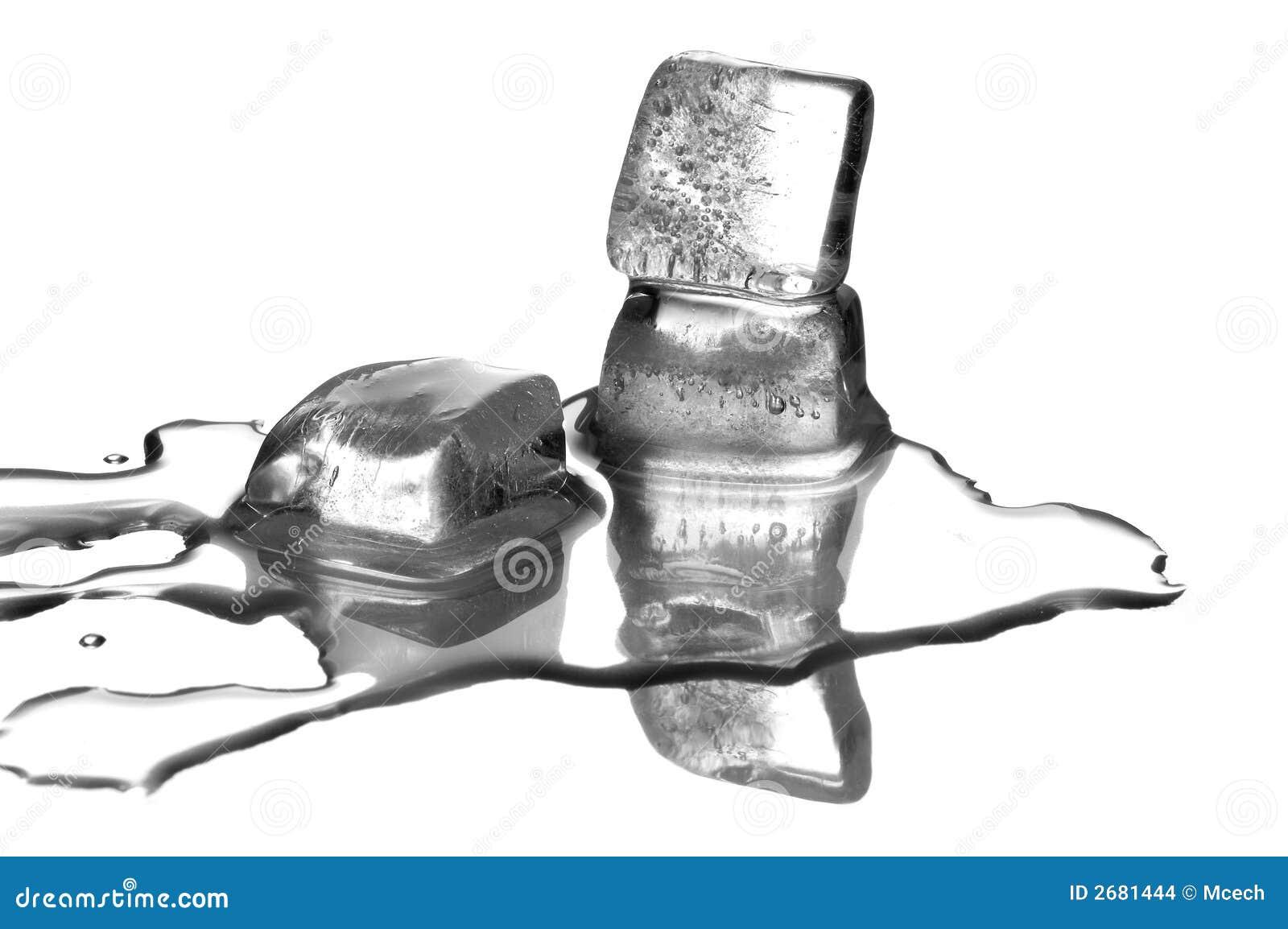 Os cubos de gelo de derretimento
