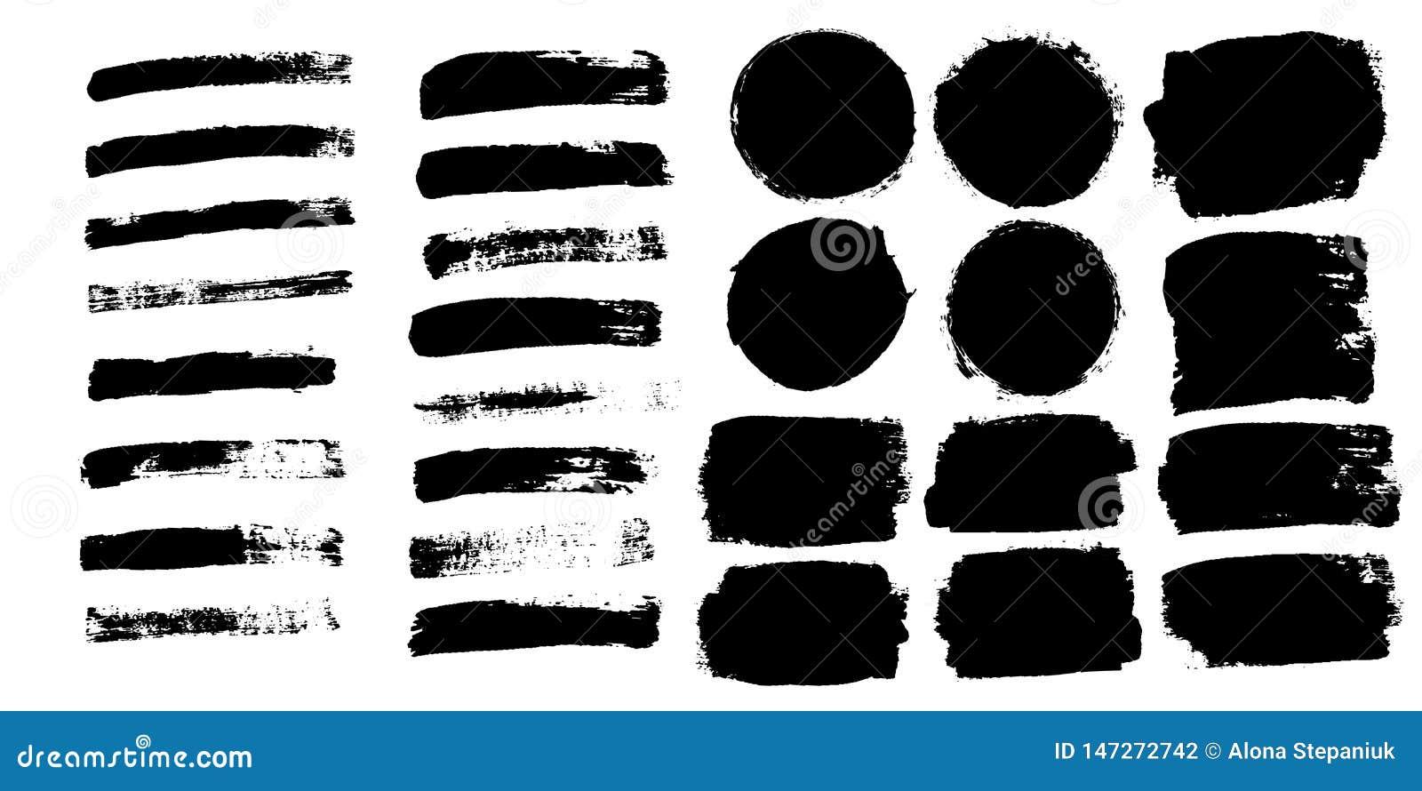 Os cursos da escova ajustaram-se isolado no fundo branco Escova de pintura preta Linha do curso da textura do Grunge Projeto da t