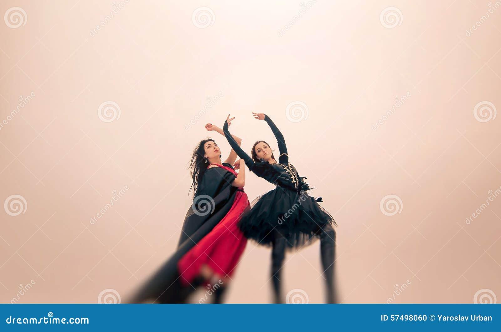 Os dançarinos novos das bailarinas executam exterior no inverno