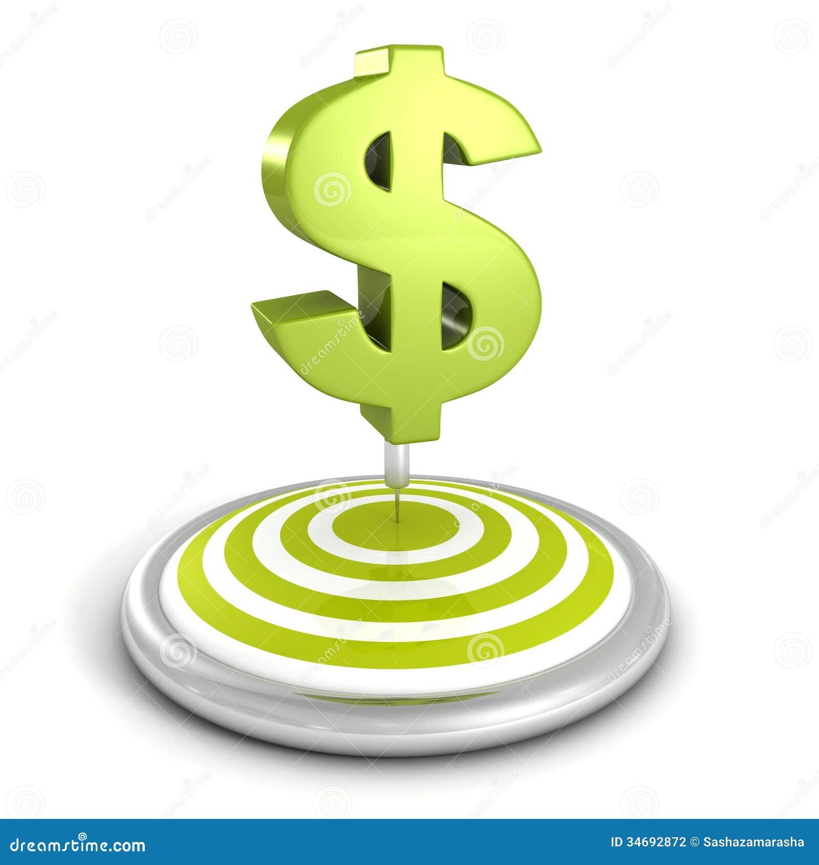 Os dardos visam e seta com sinal de dólar verde