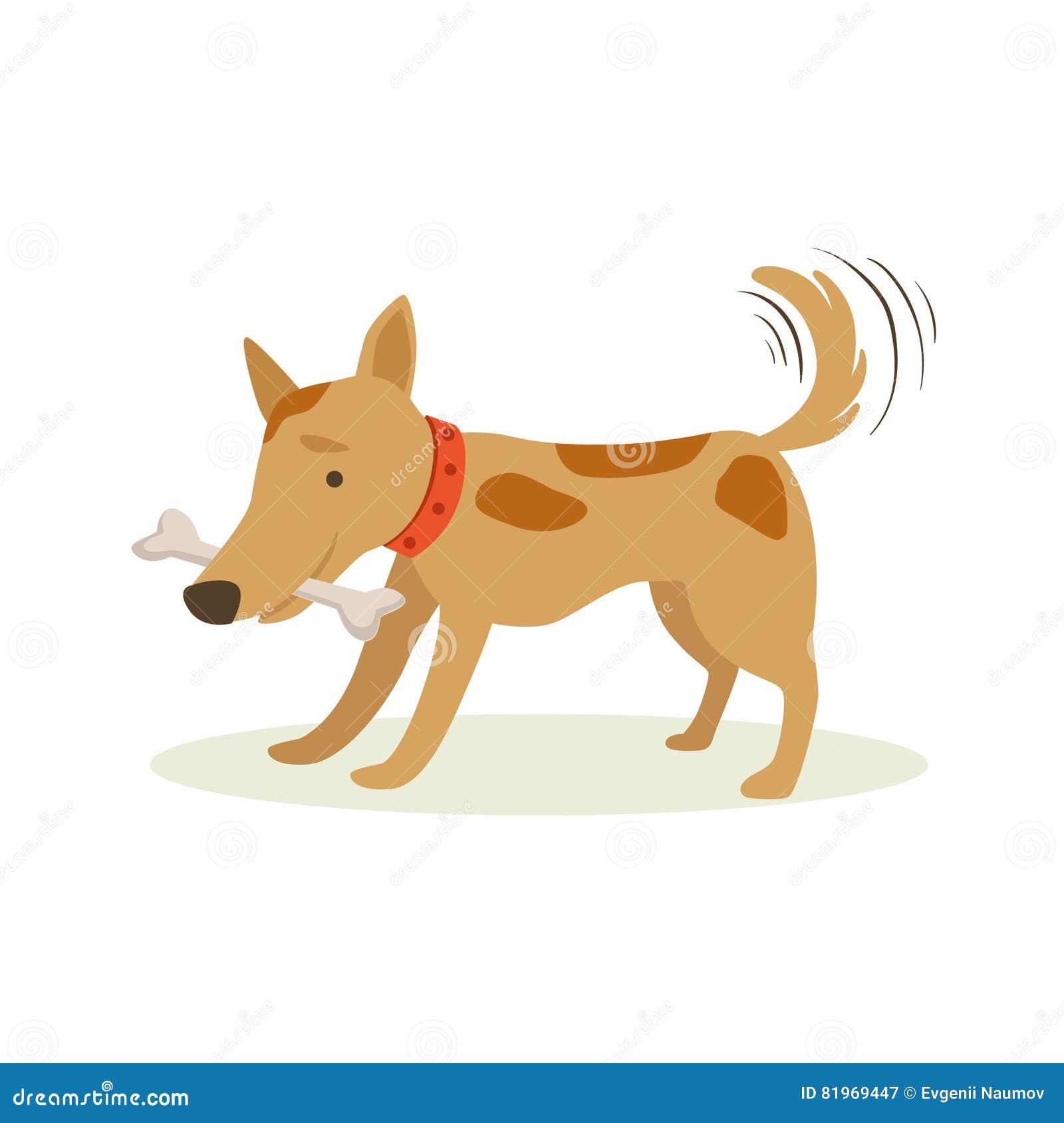 Os de transport de chien de Brown dans des dents, illustration animale de bande dessinée d émotion