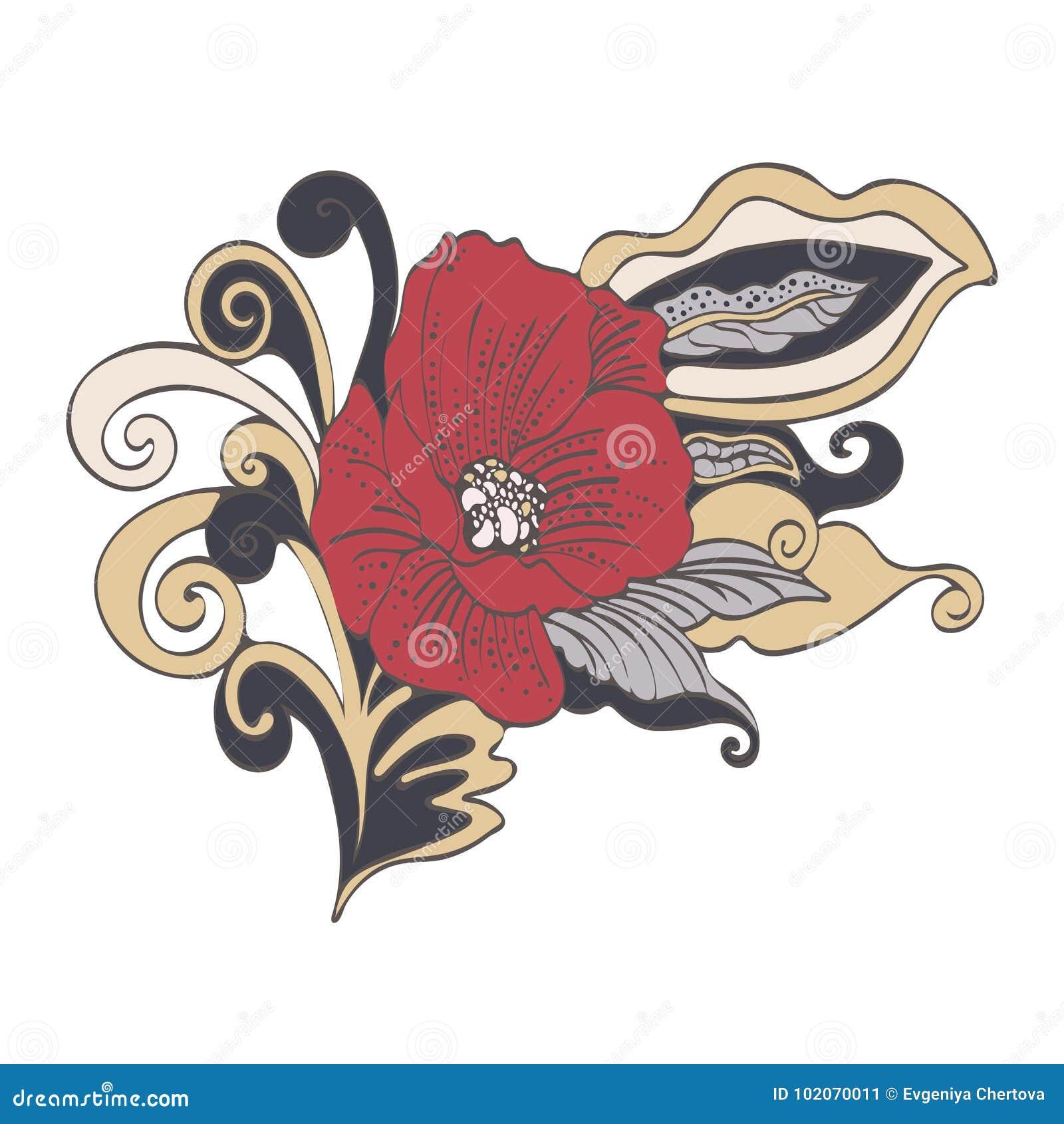 Os Desenhos Animados Abstratos Da Flor Vector Desenhado A Mao A