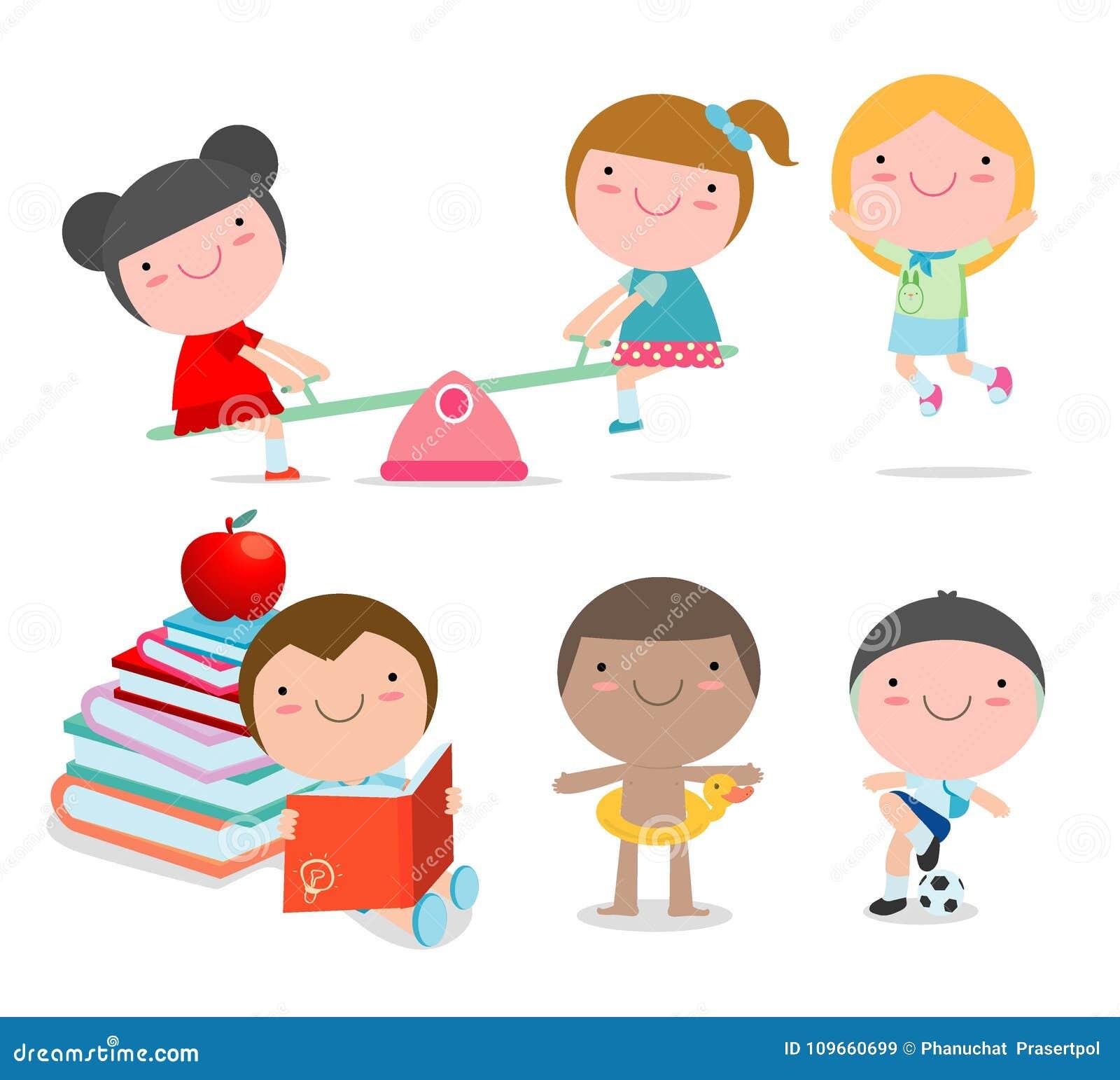 Os Desenhos Animados Felizes Cacoam O Jogo Criancas Que Jogam No