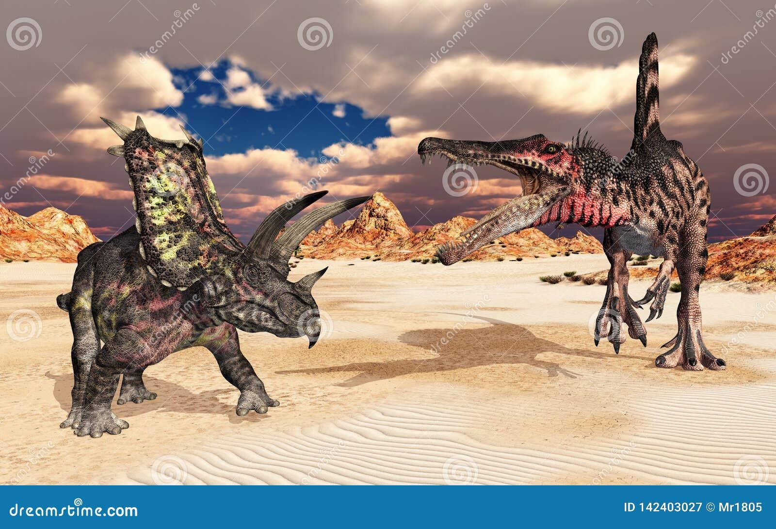 Os dinossauros Pentaceratops e Spinosaurus em uma paisagem