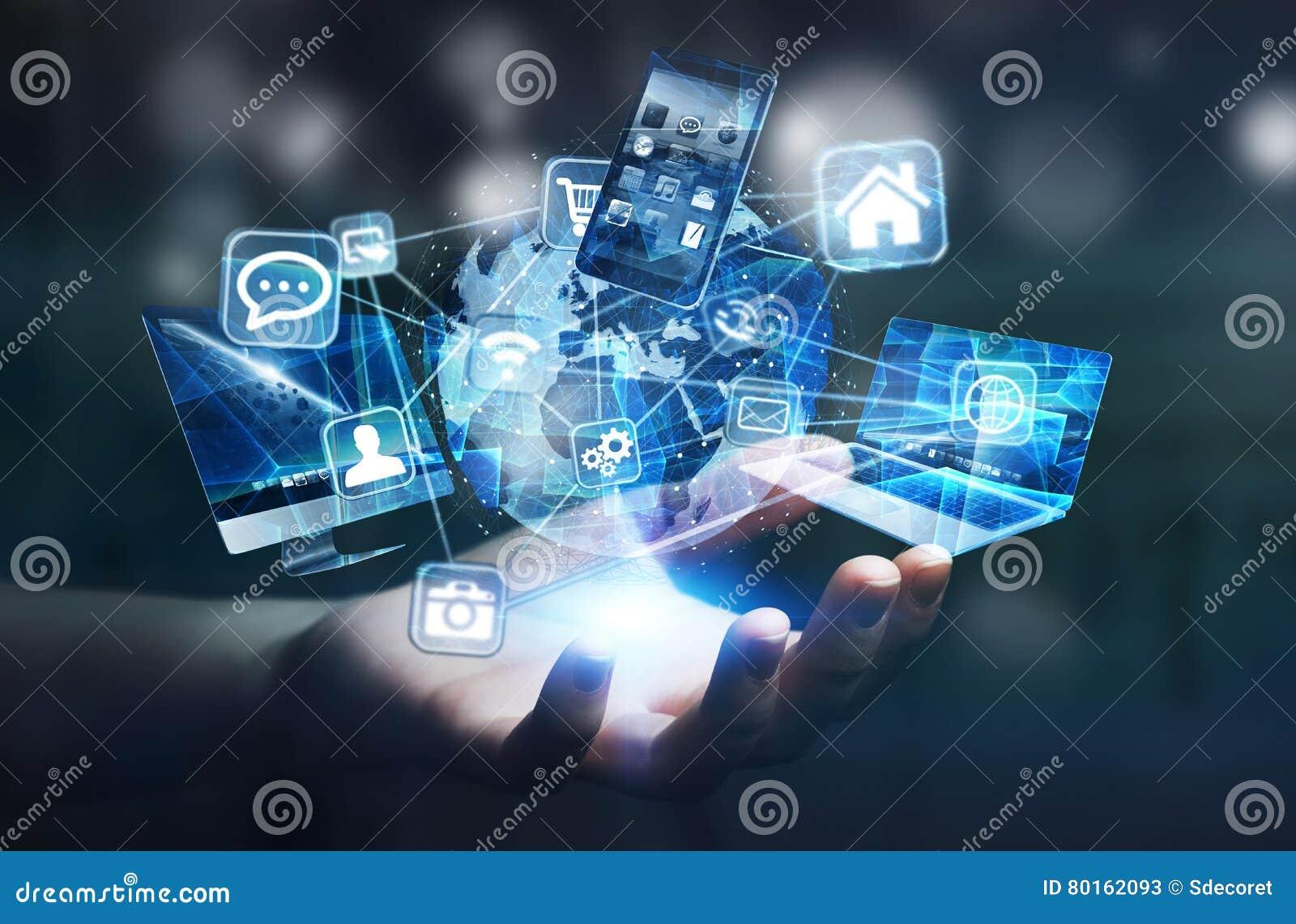 Os dispositivos e os ícones da tecnologia conectaram à terra digital do planeta
