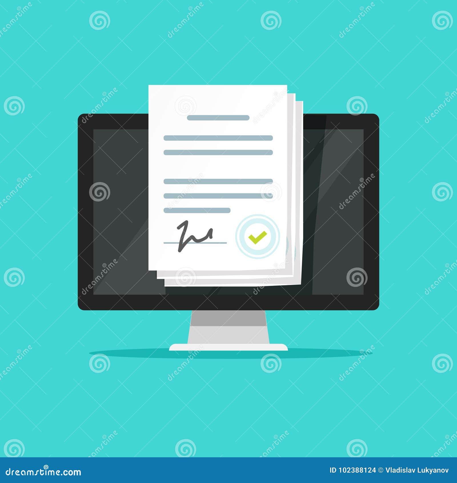 Os documentos eletrónicos em linha no portátil vector a ilustração, original de papel dos desenhos animados lisos com a assinatur