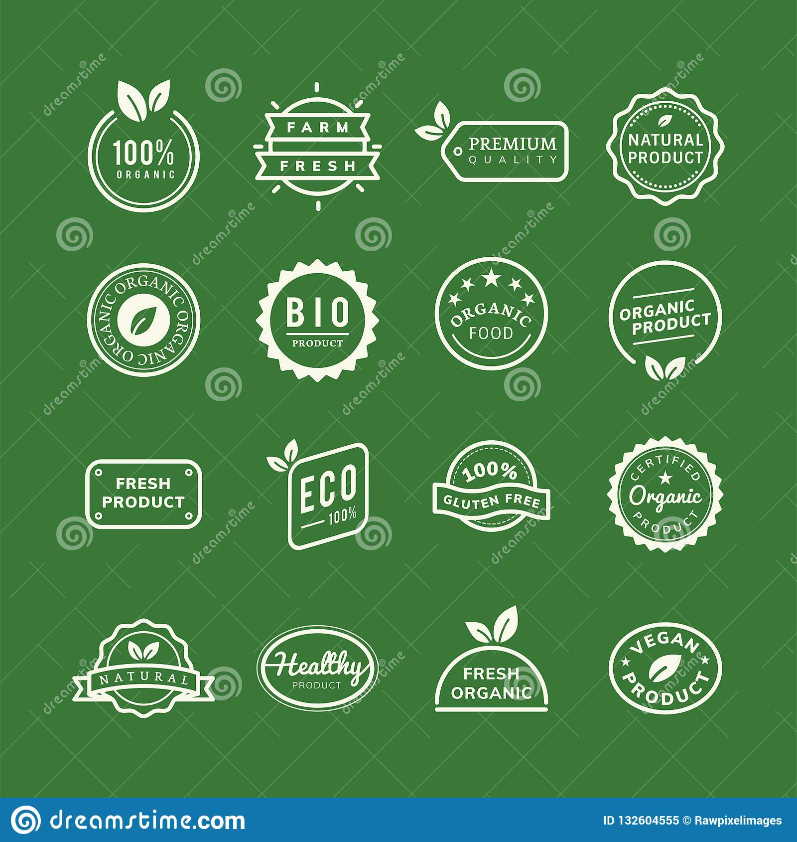 Os emblemas orgânicos do selo do produto ajustaram a ilustração