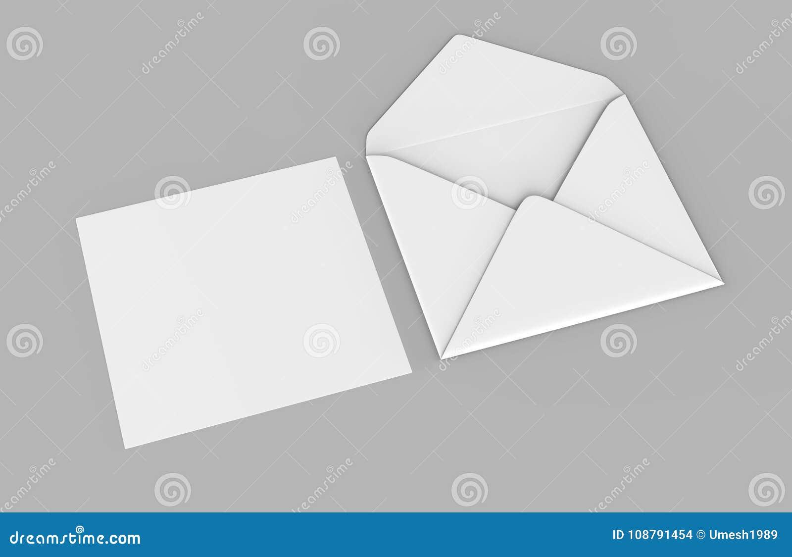 Os envelopes baroniais realísticos brancos vazios zombam acima ilustração da rendição 3d